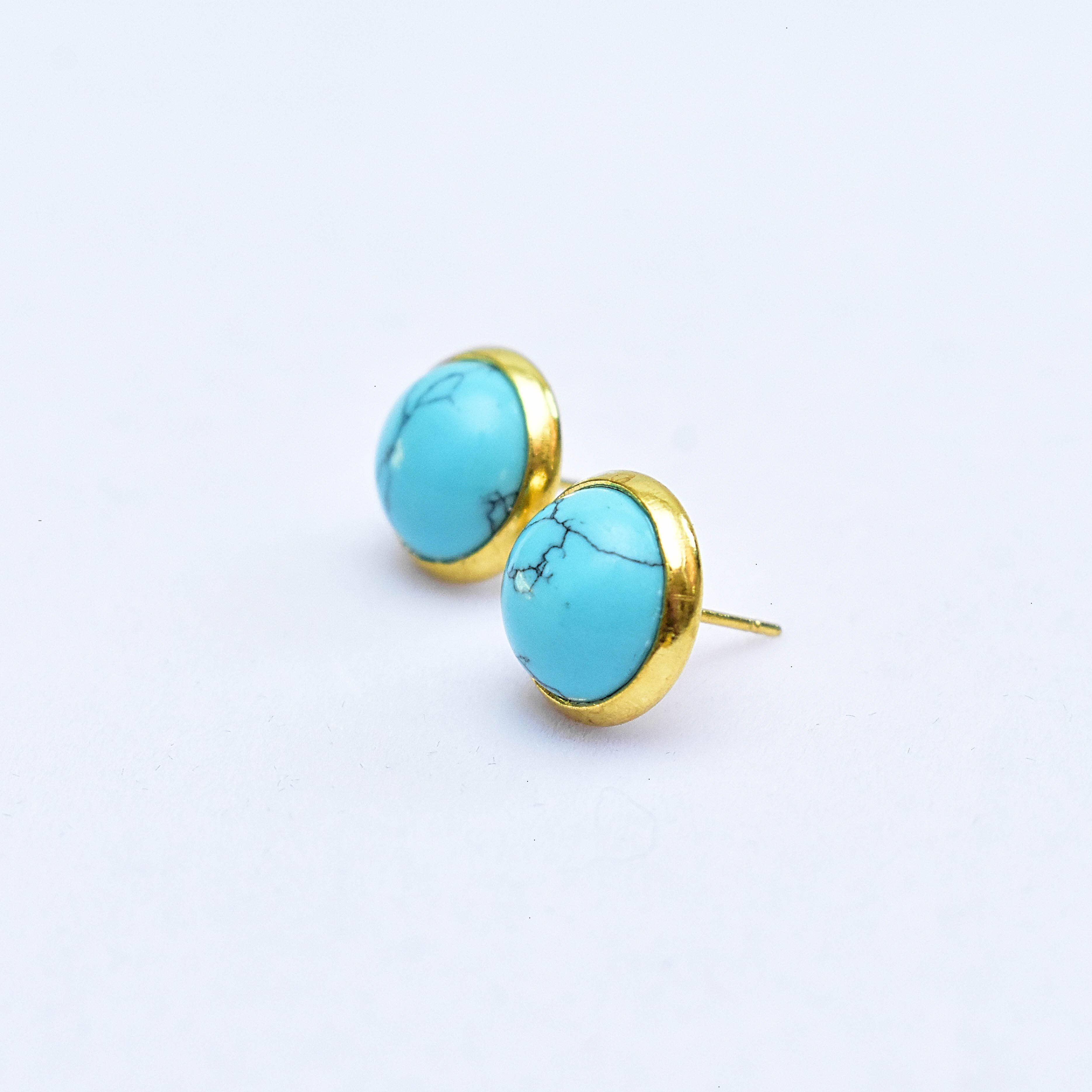 Crescent Moon Earrings with Blue Howlite Stone