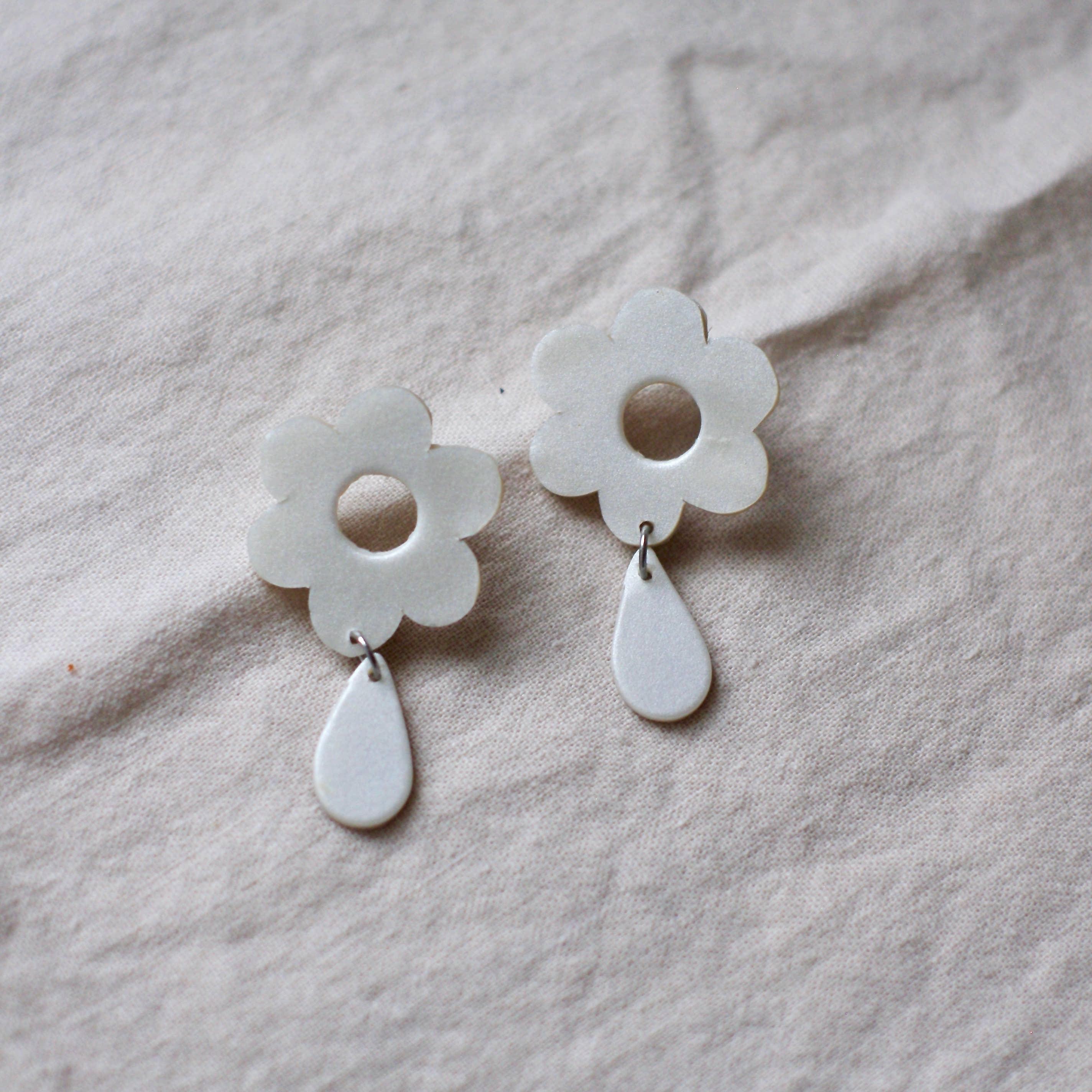 Surgical steel findings Garden earrings Floral earrings STUD earrings Clay jewellery Statement earrings