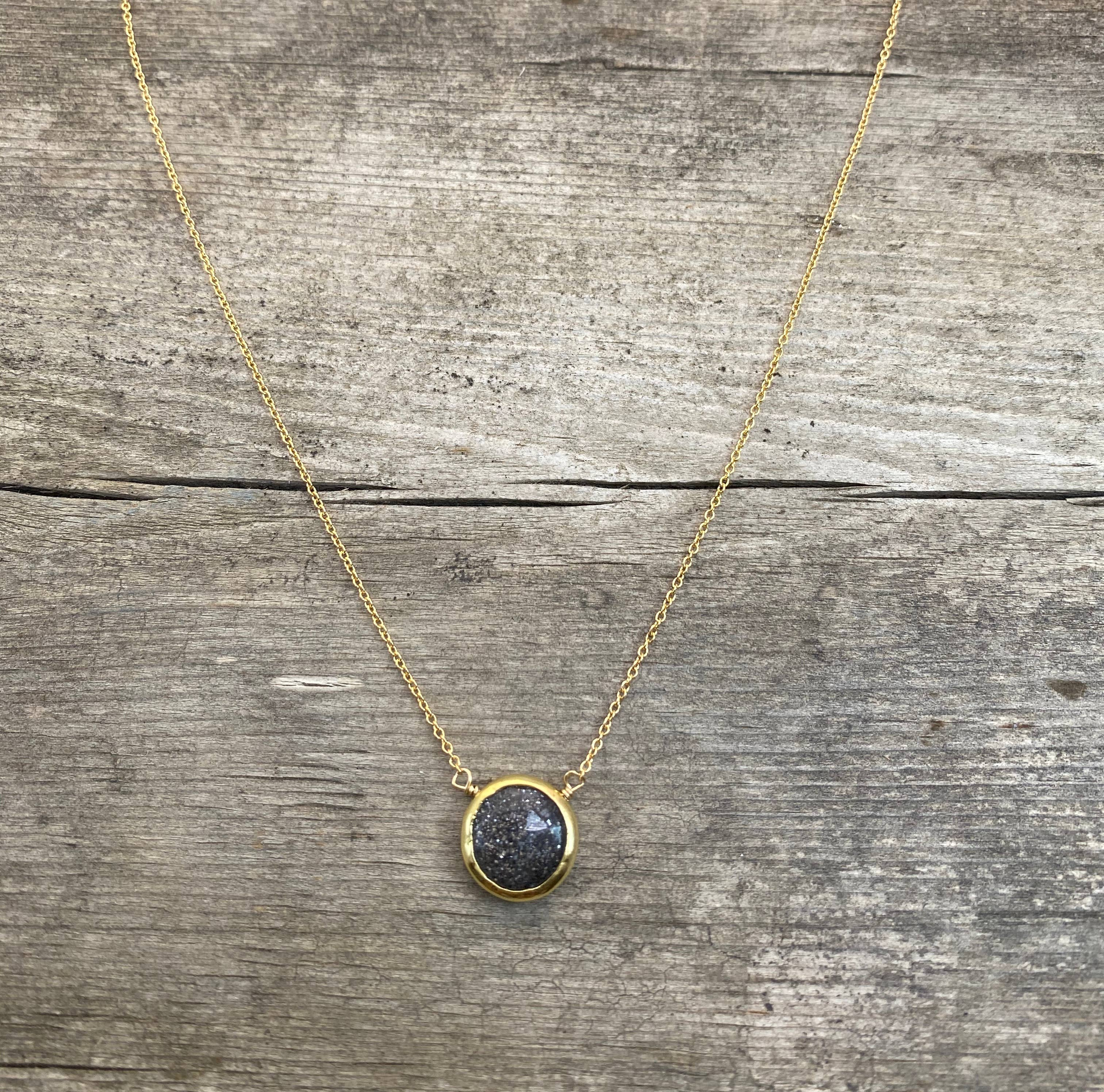 Long Necklace with Sterling Silver and Bezel Set stone Y Dangle and Gray Moonstone Y drop Necklace Agate Boho Pendant Necklace Drusy