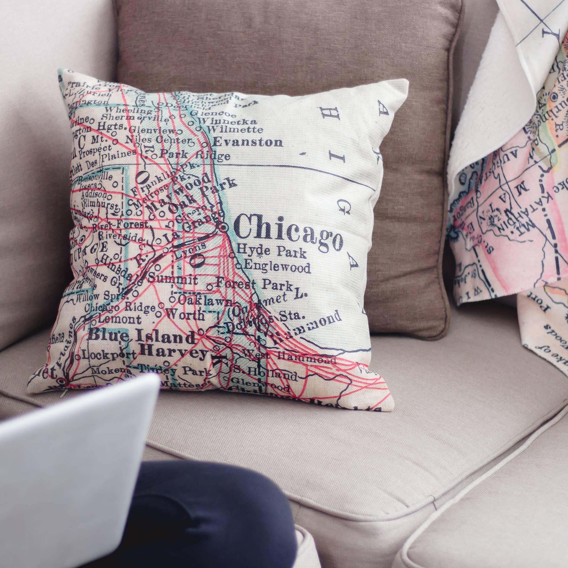 Chicago Map Throw Pillow Faire Com