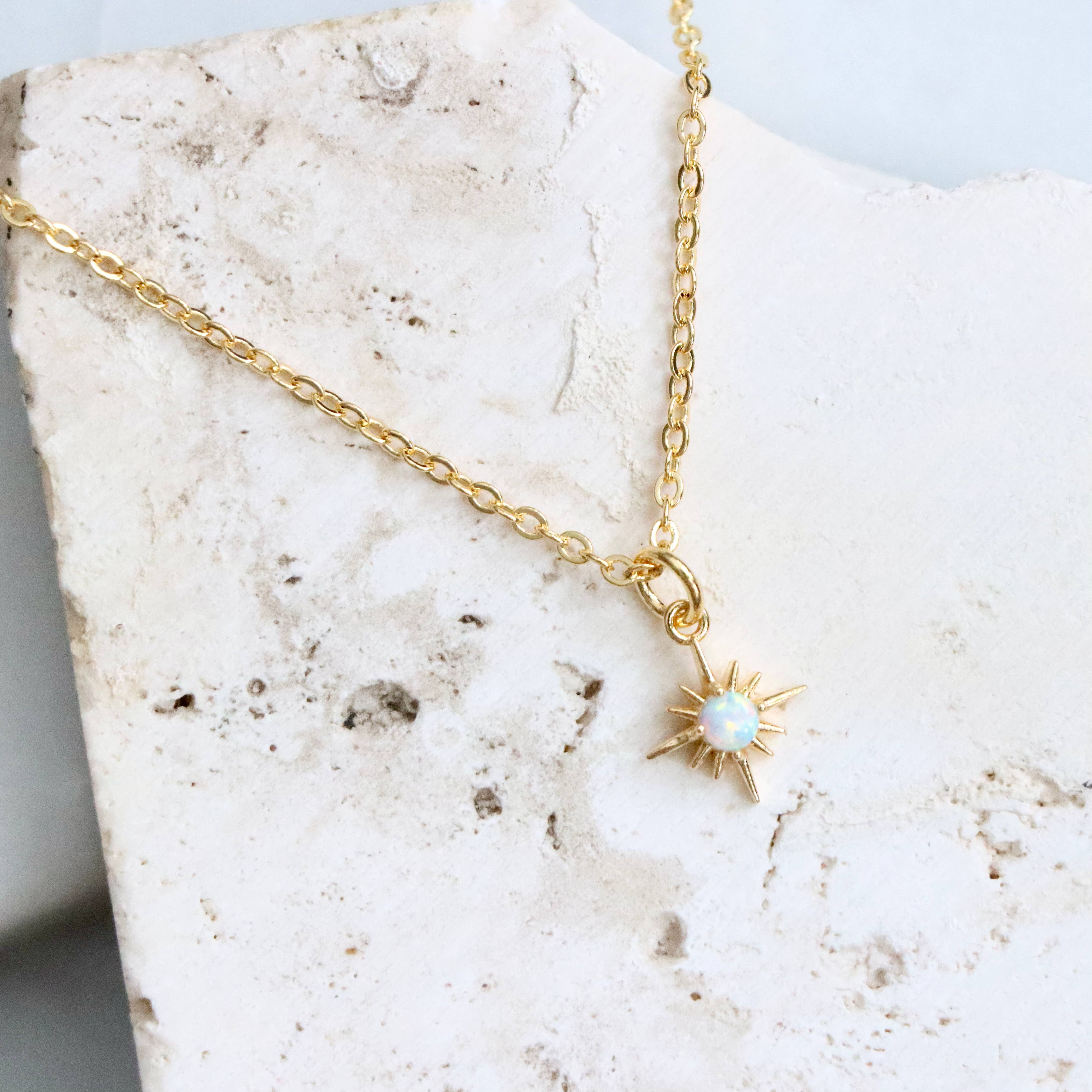 Sweet Selenite Necklace with Amethyst Drop in Gold-Filled Chain with Gold-Filled Clasp