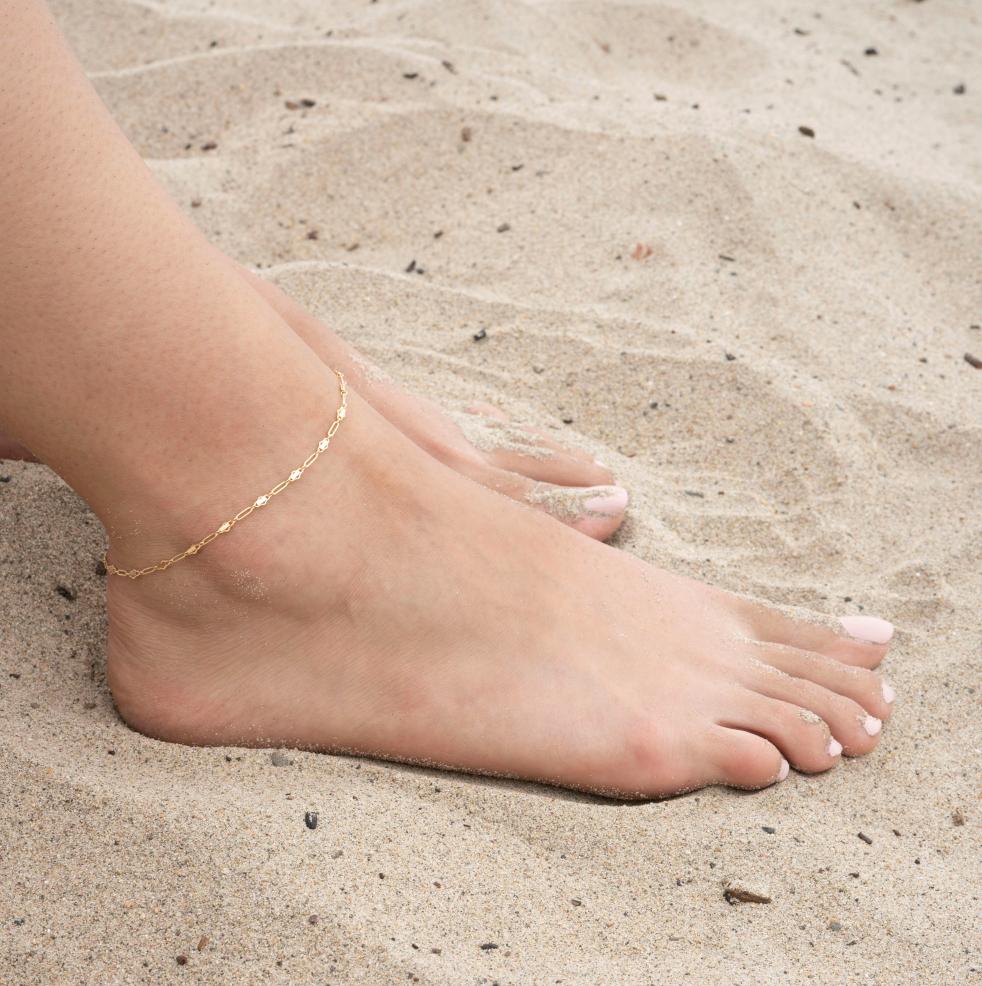 Stone Bar Ankle Bracelet Gemstone Bar Anklet 14k Gold Filled or Sterling Silver Beach Anklet Dainty Bar Anklet Hematite Bar Anklet