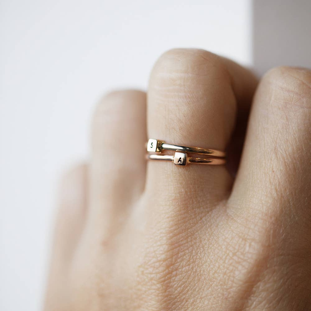 Gift Letter Ring Pick Your Initial Personalized Ring Initial Stacking Ring Rose Gold Initial Ring Number Ring Stacker Alphabet Ring
