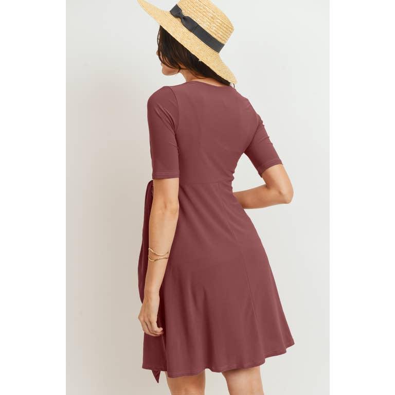 Solid Side Tie V Neck Maternity Dress Faire Com
