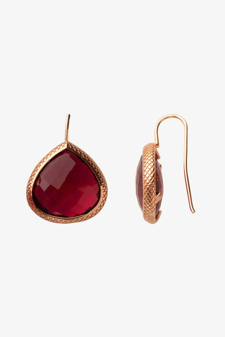 18K Gold Plated Shelly Earrings Red Stone