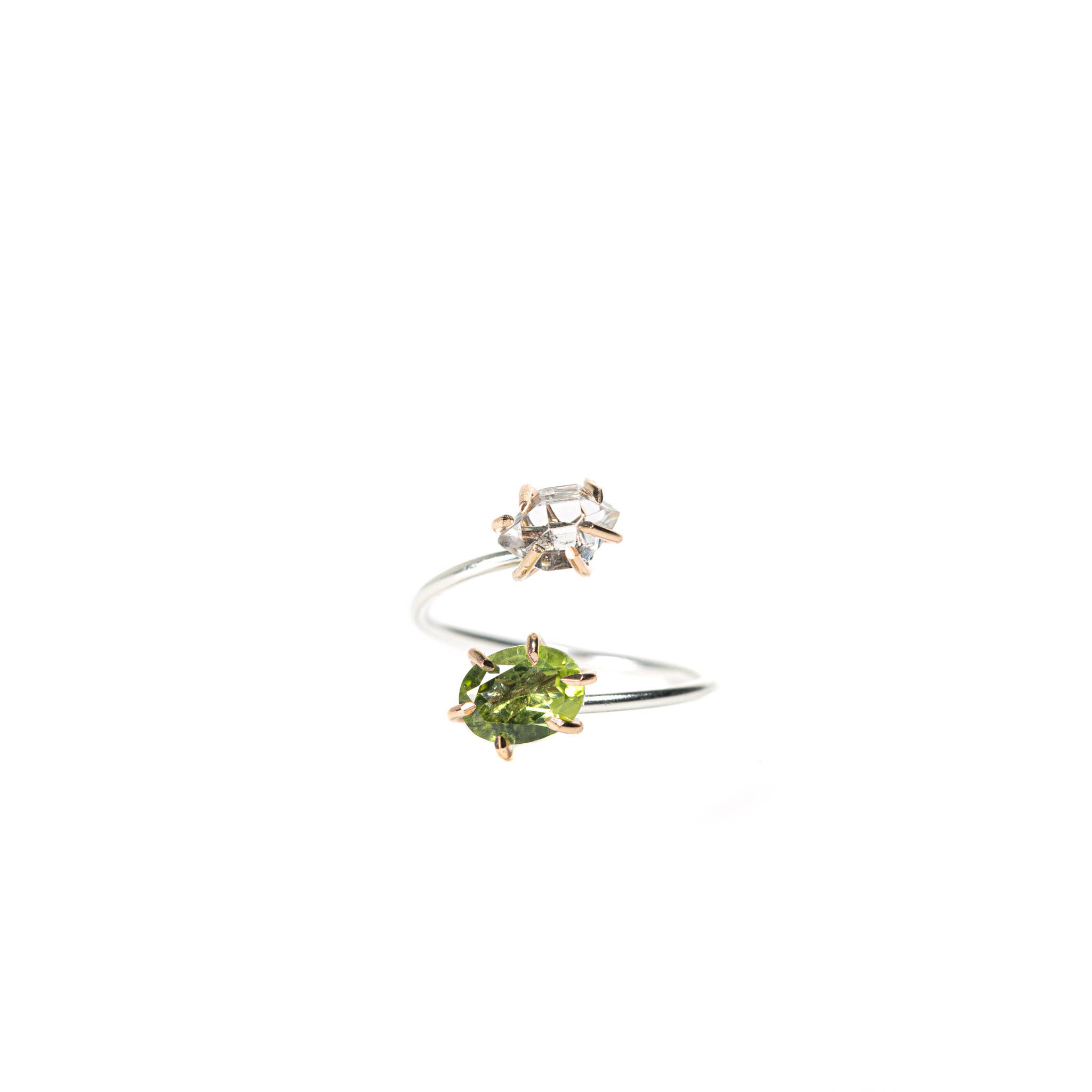 Tourmaline ring with dou lble tourmaline crystals in 14k gold filled adjustable setting
