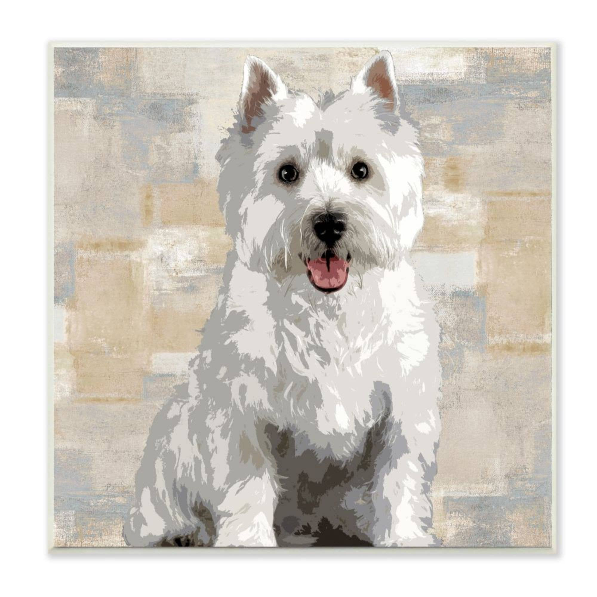 Stupell Industries Smiling Labradoodle Dog Patchwork Grey Beige Pattern Canvas Keri Rodgers Wall Art 24 x 24