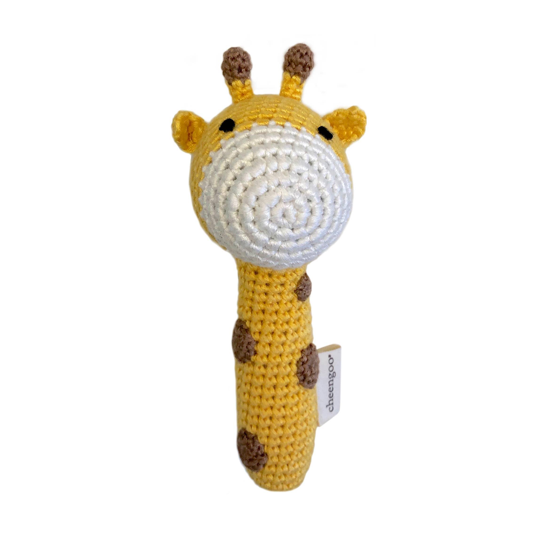 Cheengoo Organic Crocheted Stick Rattle Snowman