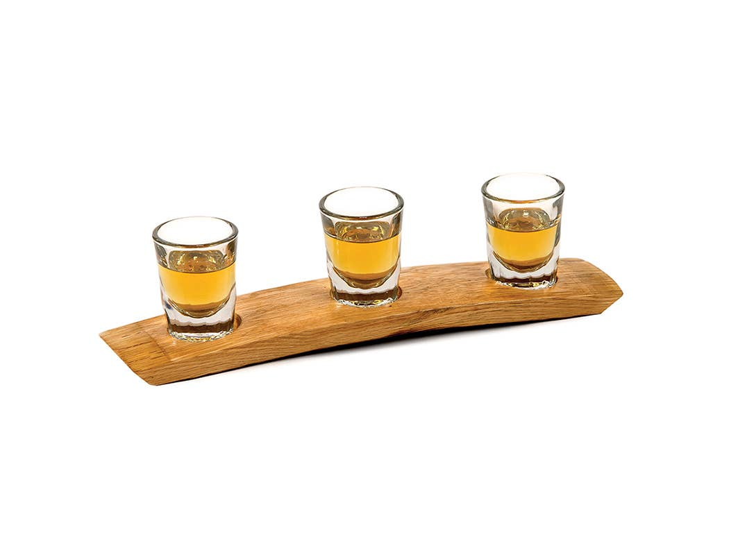 Oak Barrel Whisky Shot Flight- Flight Tray Shot Glass Holder Whisky Barrel