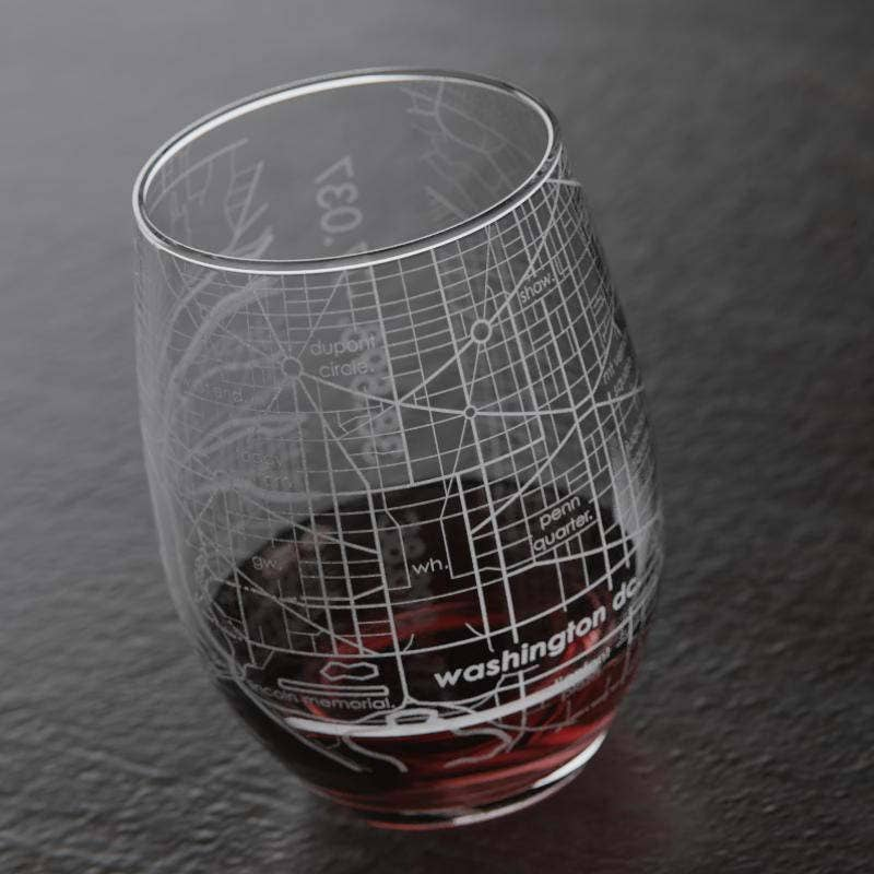 St Louis Map Stemless Wine