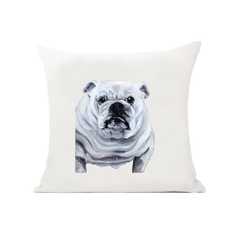 White English Bulldog Pillow Faire Com