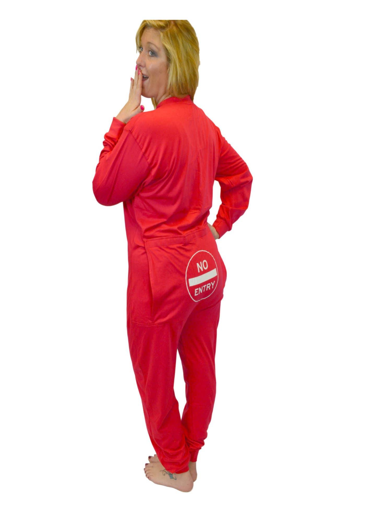 Red Union Suit Men /& Women Onesie Pajamas with Funny Butt Flap Danger Blasting Area 354-BLST