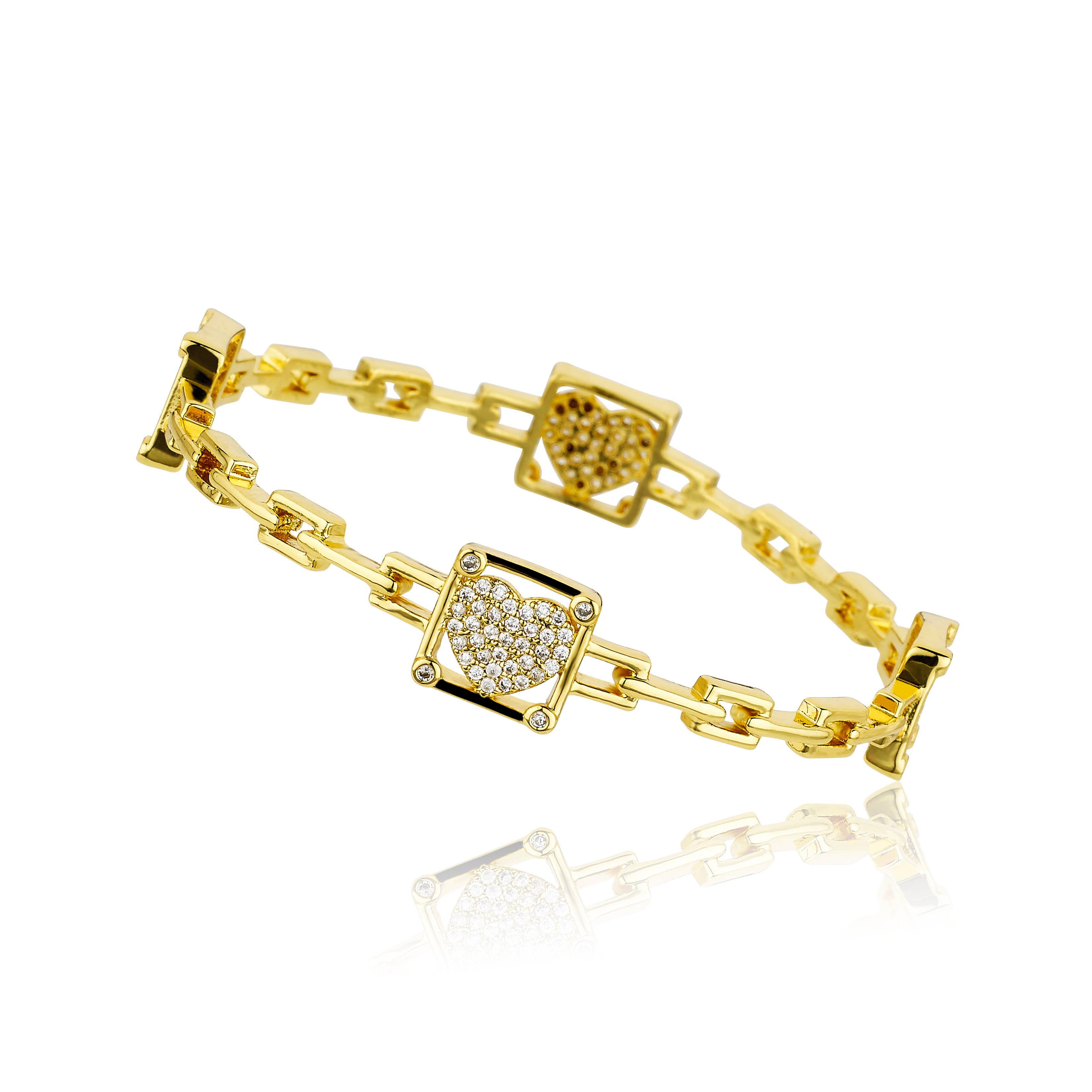 14k Gold-Plated Hearts Station Link Bracelet Little Miss Twin Stars Girls Classic