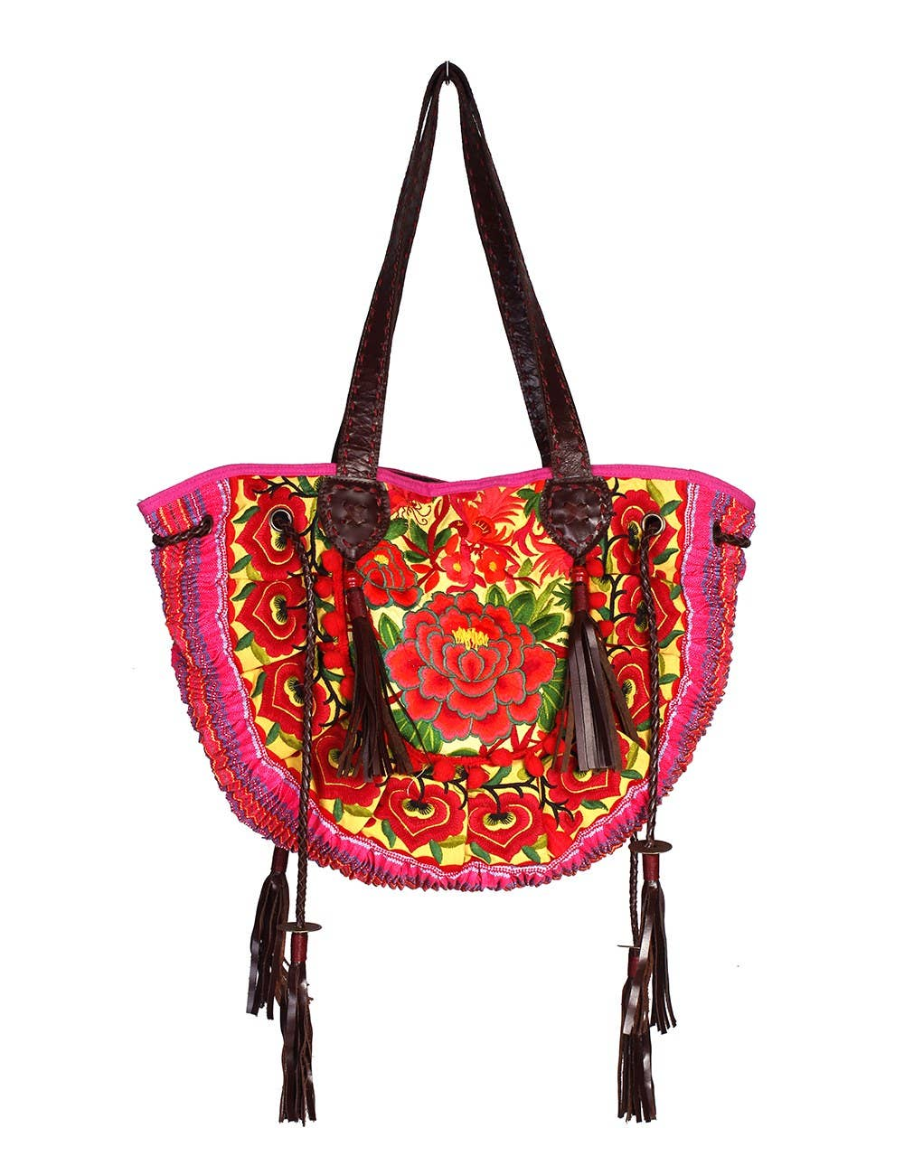 Red Leather Hmong Thai Crossbody Bag With Red Tassels Thailand
