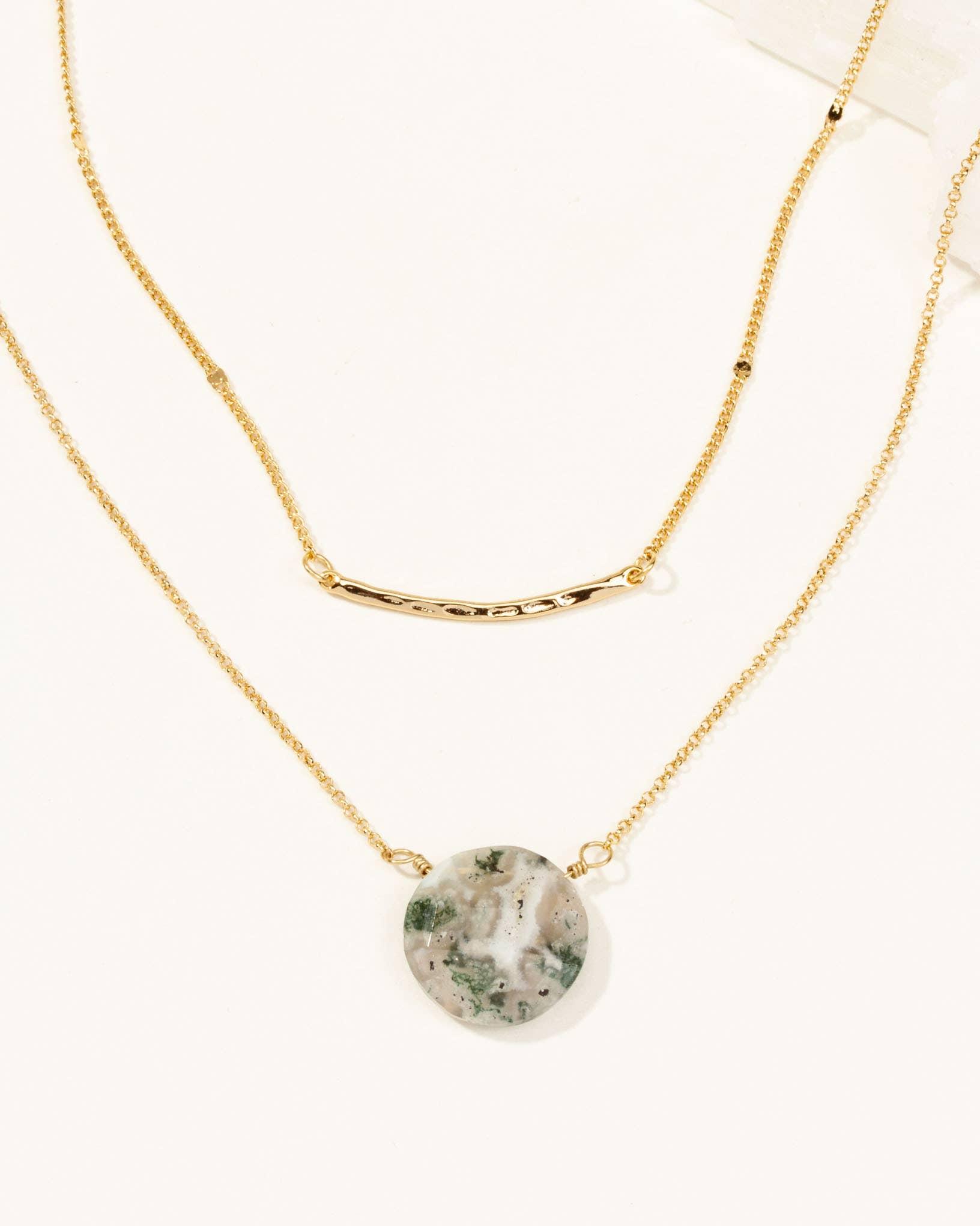 Cynthia Lynn SWEET DREAMS Sea Foam Green Aquamarine Rose Gold Plated Y Necklace
