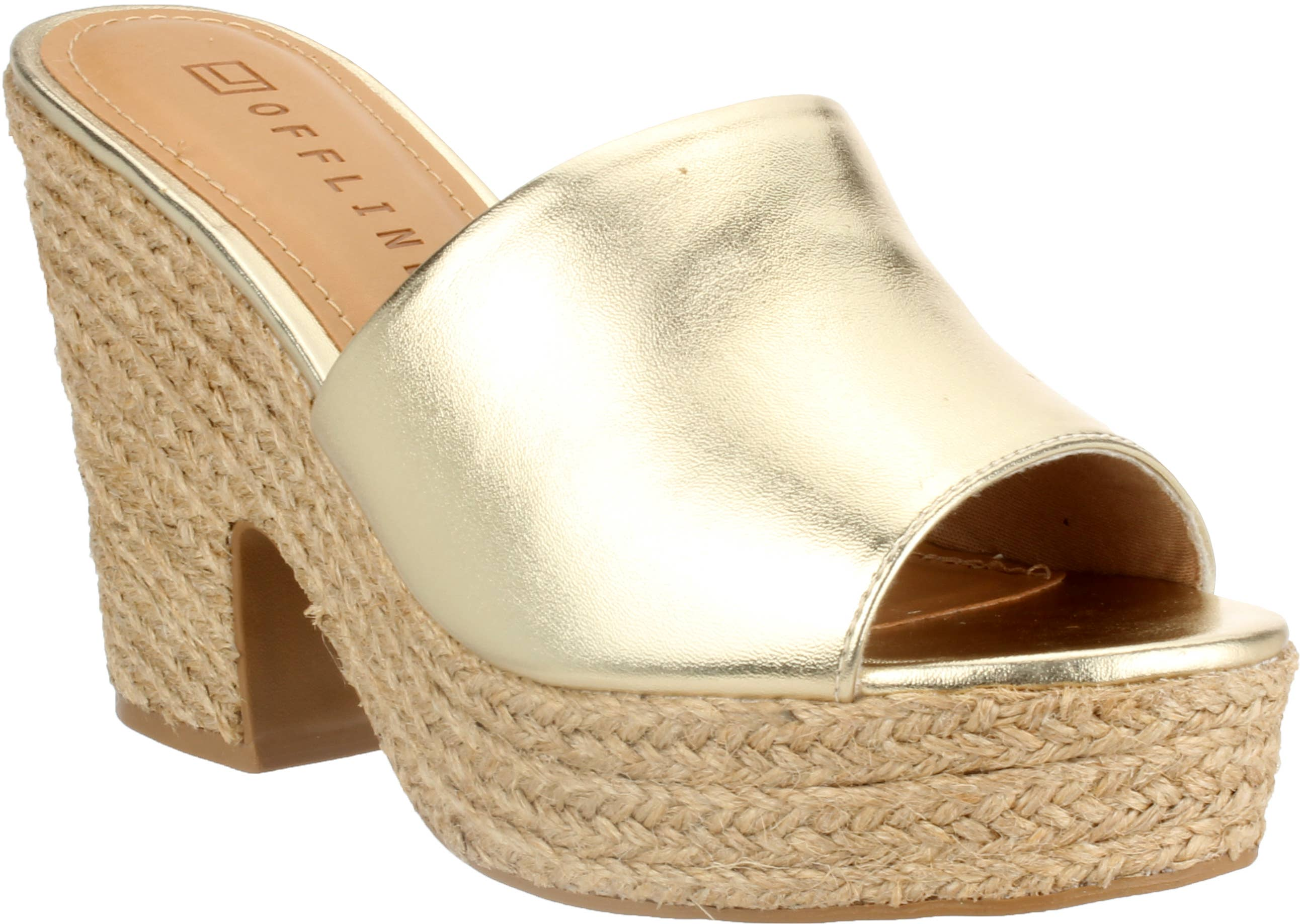 MELODY Tan Metallic Flatform with All Over Floral Detail