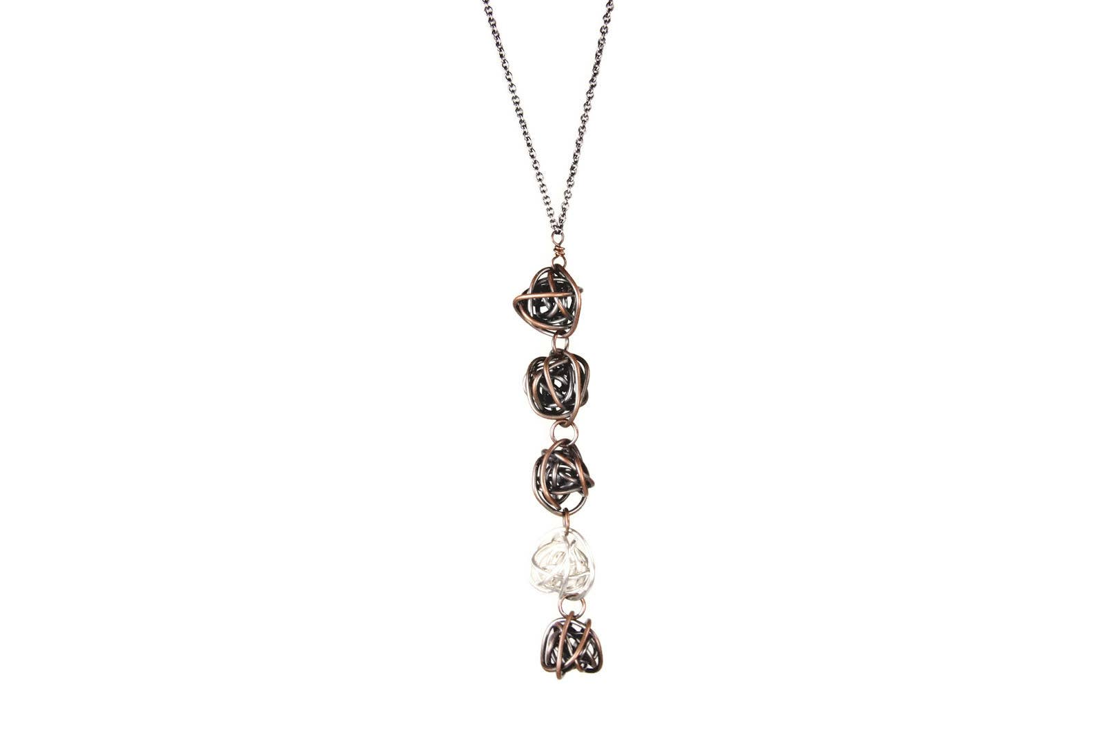 choose Asymmetric silver chain with green water silver and mirror beads for sunglasses or masks