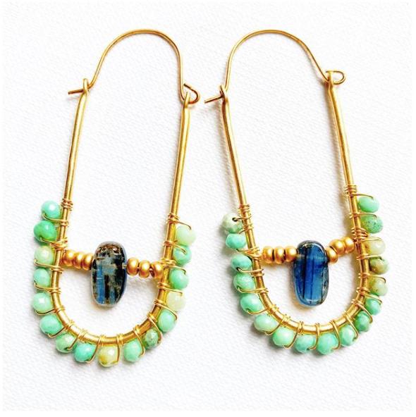 Beaded Hoop Earrings Aqua Teal Sparkling Set with Paper Bead Focal Bead Earring