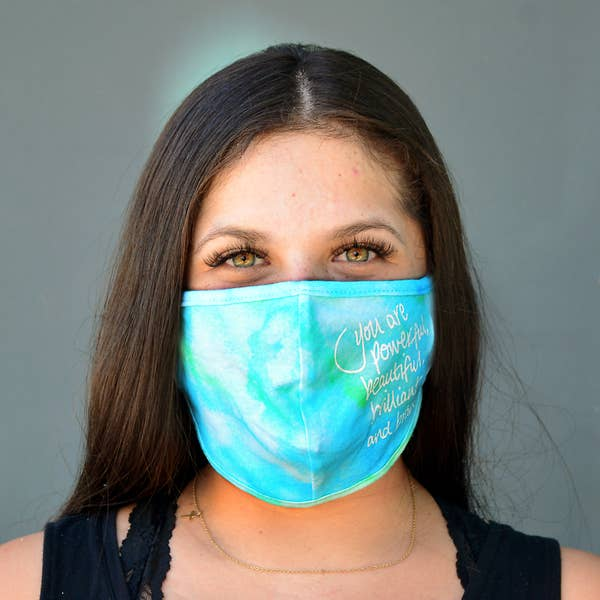 Good Works Make A Difference - Wholesale Curved Cloth Mask - 100% COTTON 3D BLUE WATERCOLOR FACE MASK on Faire.com