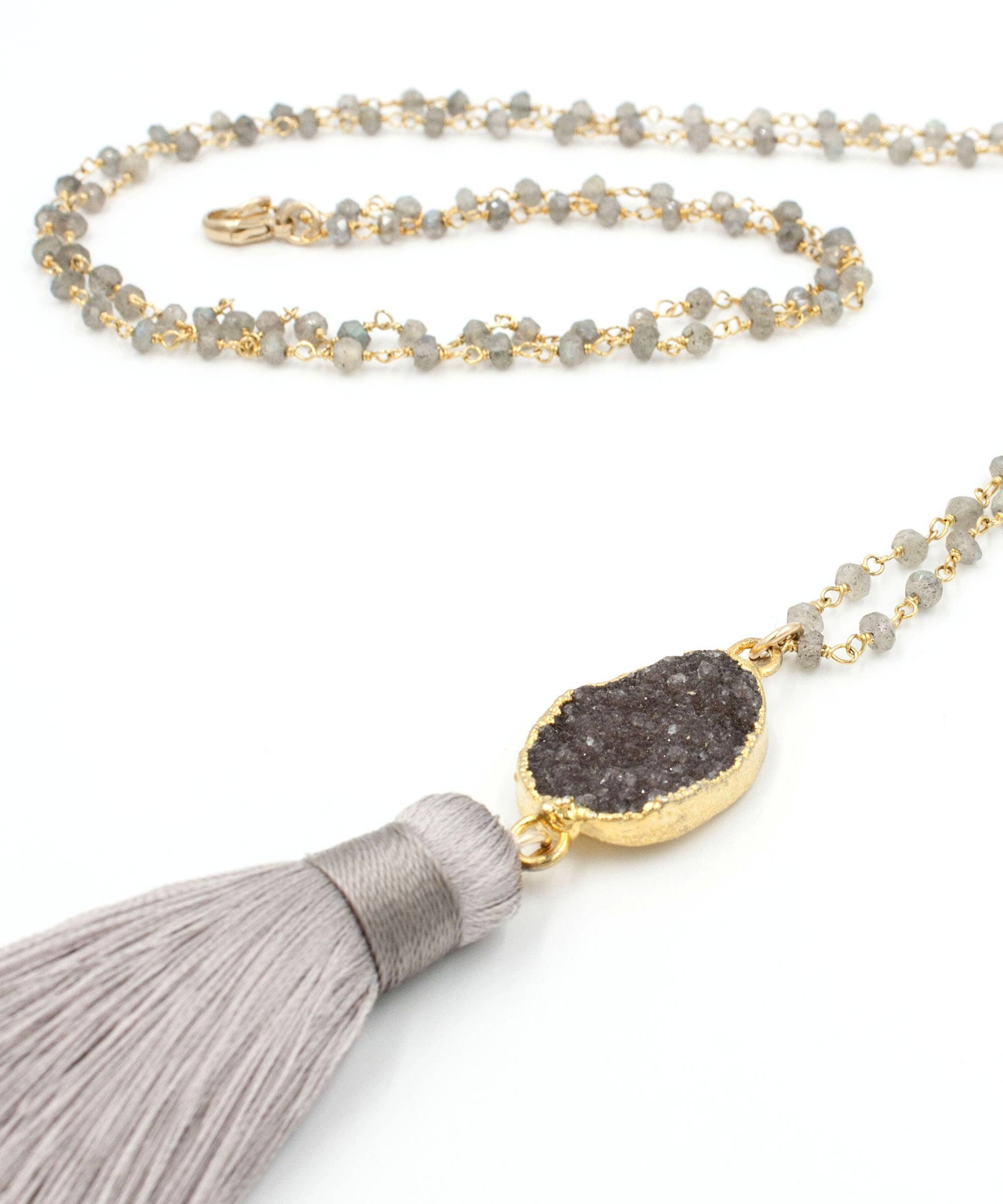 Marquis Druzy Pendant Necklace Zara Druzy Y Necklace Short Druzy Necklace Gift for Her Delicate Labradorite Rosary Chain