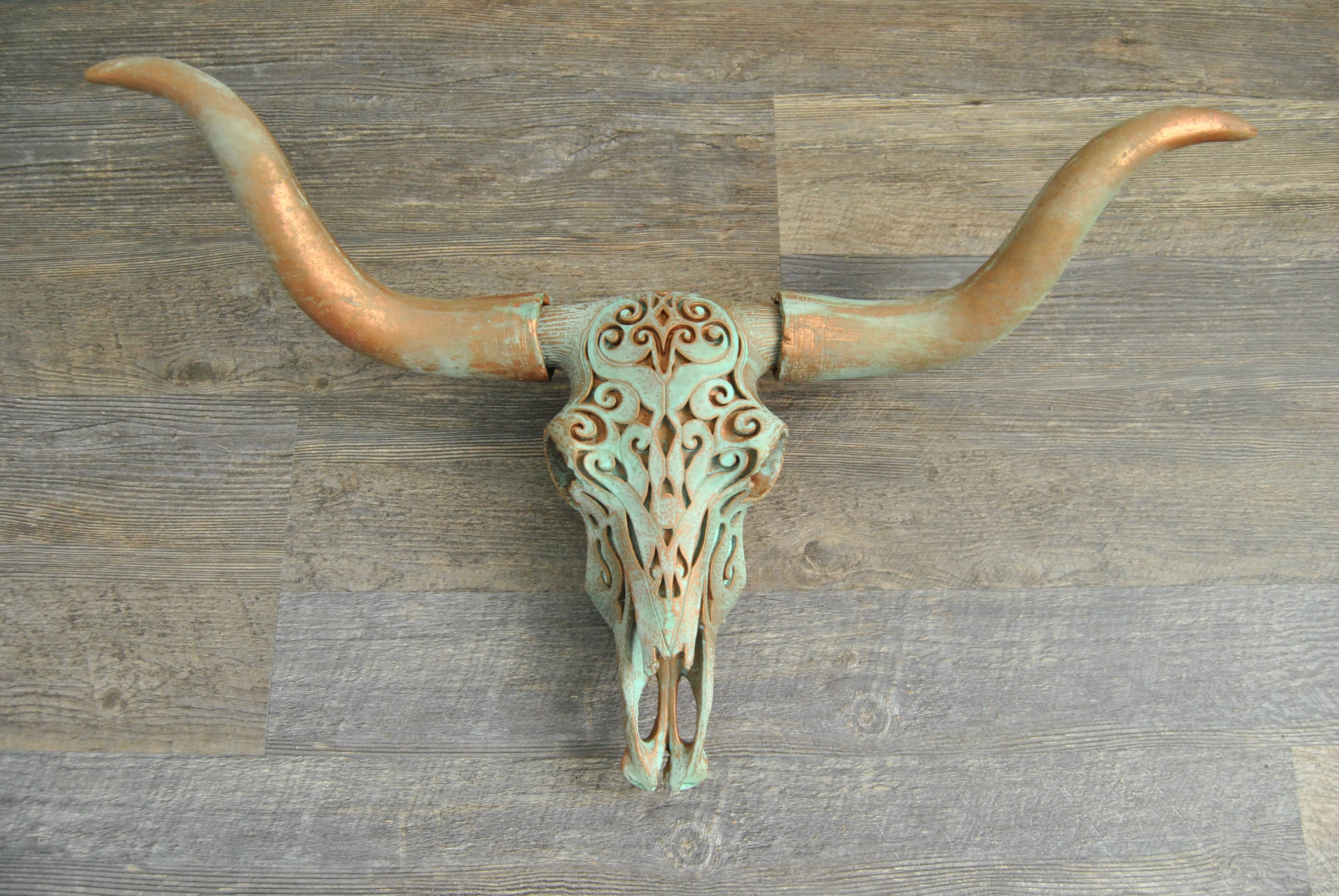 Near and Deer Faux Taxidermy Carved Texas Longhorn Skull Wall Mount Large Matte Black