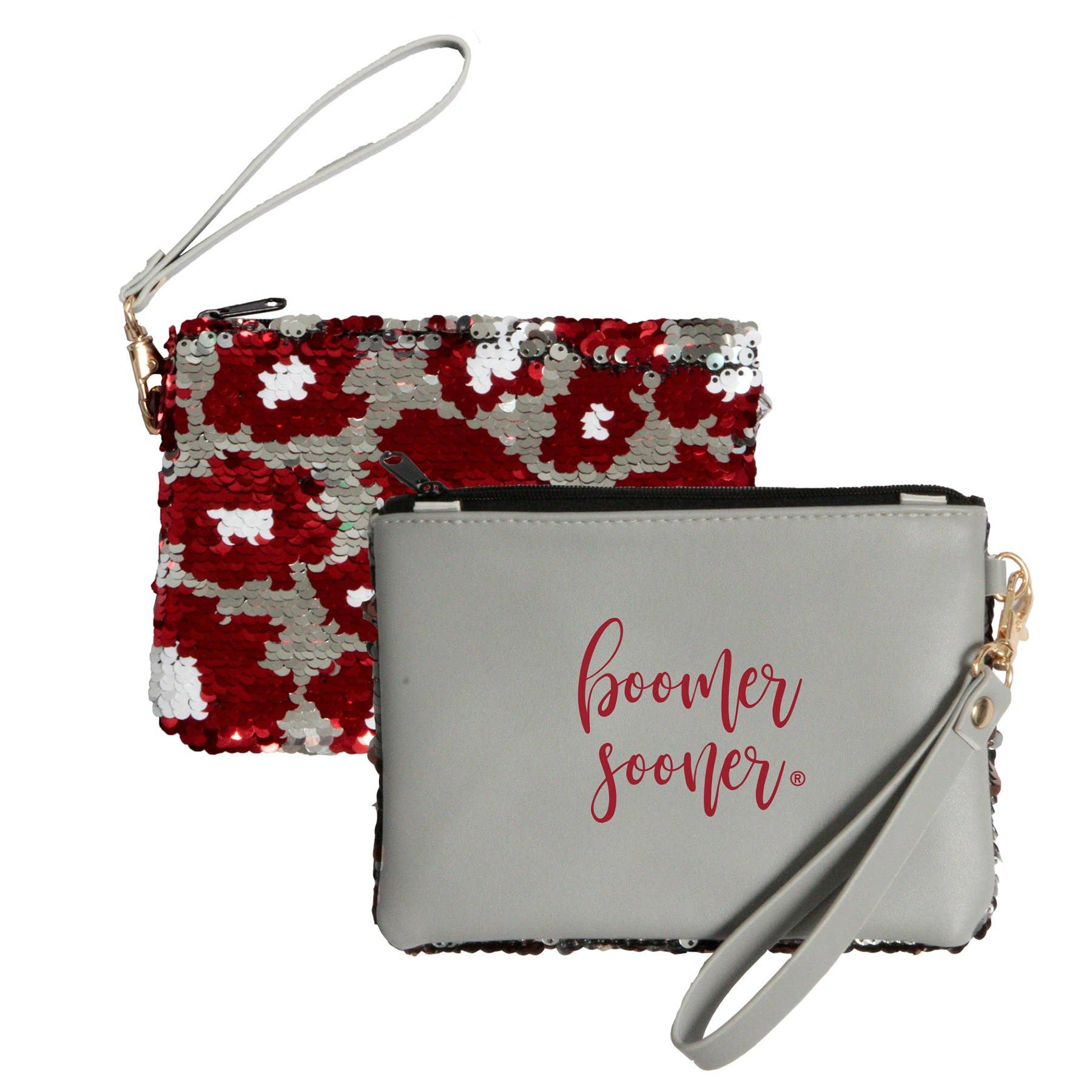 Clemson Tigers Clear Handbag//Purse and Reversible Sequined Wristlet Combo with Vegan Leather Trim and Removable Straps