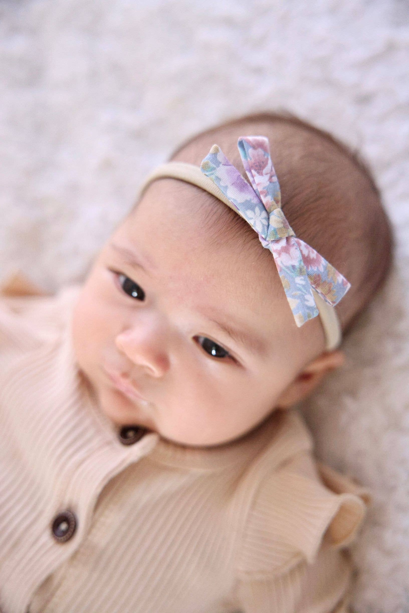 Pink /& Brown Floral Handtied School Girl Style Hairbow Baby and Toddler Bows Baby Headband Bow Choose Alligator Clip or Nylon Headband