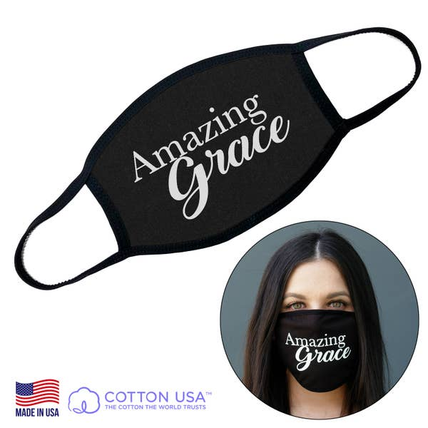 Good Works Make A Difference - Wholesale Curved Cloth Mask - 100% COTTON MADE IN THE USA AMAZING GRACE FACE MASK on Faire.com