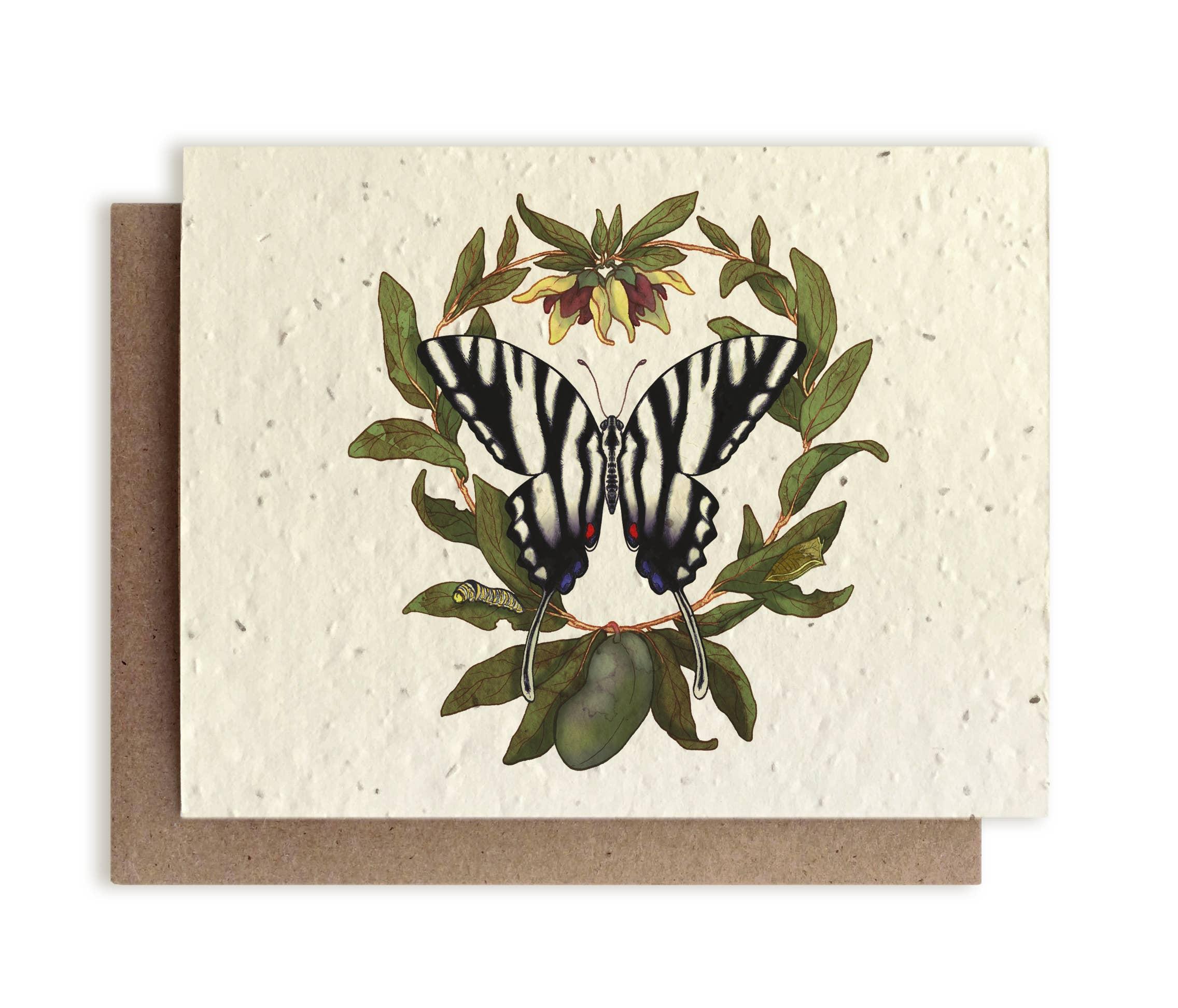 Plantable Vintage Botanical Cards Plune Anemone Wildflower Seed Paper Beyond Zero Waste