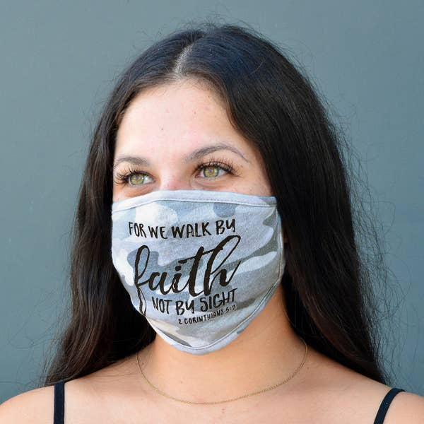 Good Works Make A Difference - Wholesale Curved Cloth Mask - 100% COTTON MADE IN THE USA CAMO 2 - 2 COR 5:7 FACE MASK on Faire.com