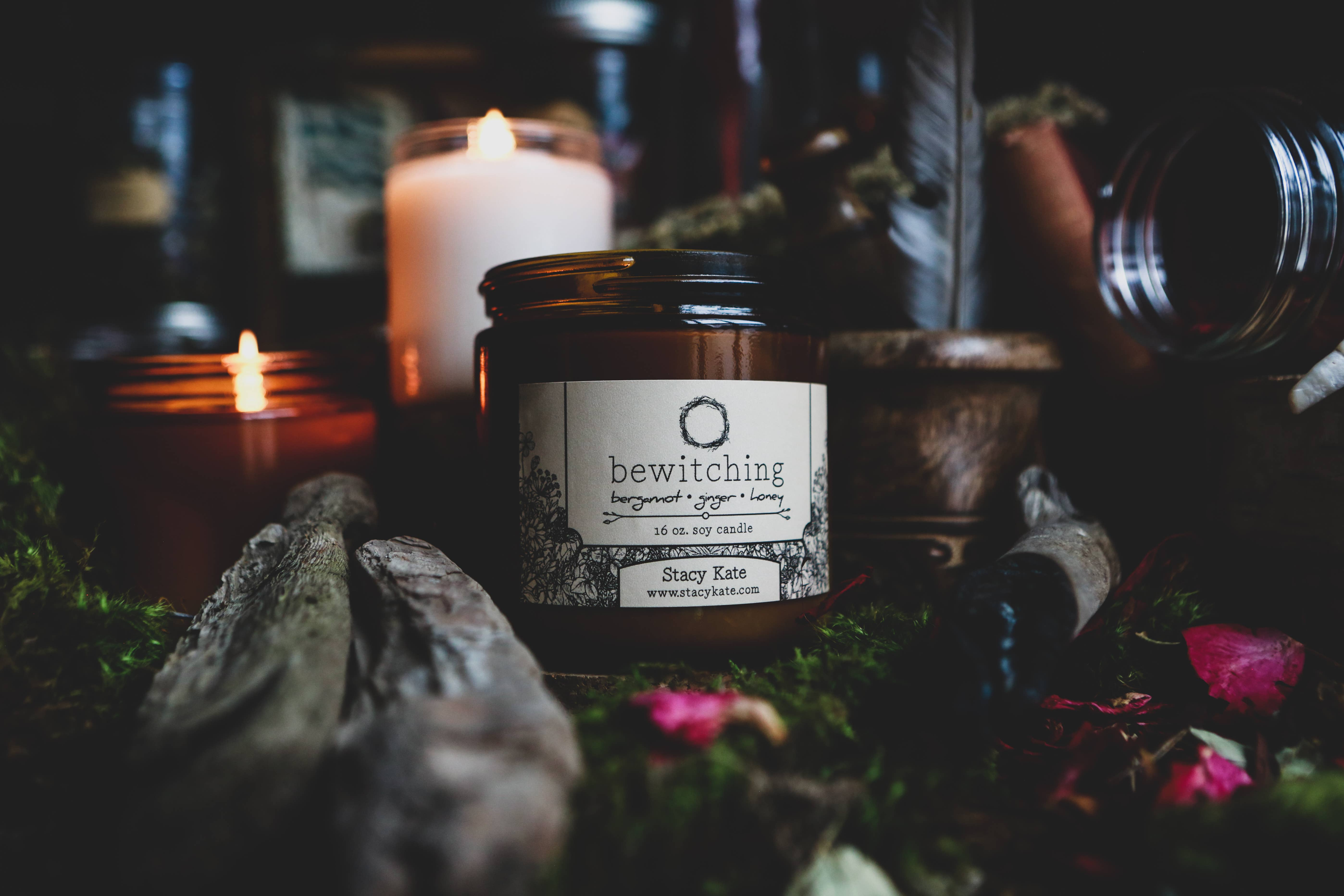 Scented Soy Candle Blood Moon Blood Orange Bergamot and Sandalwood 9 oz candle Vespertine Studio