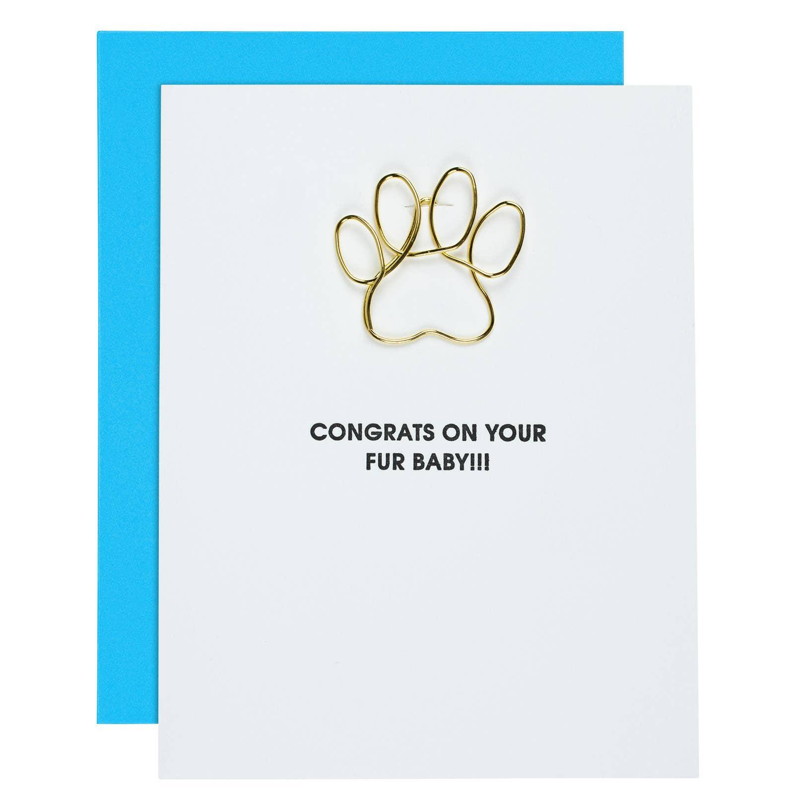 Birthday Pawty Paw Print Paper Clip Letterpress Card