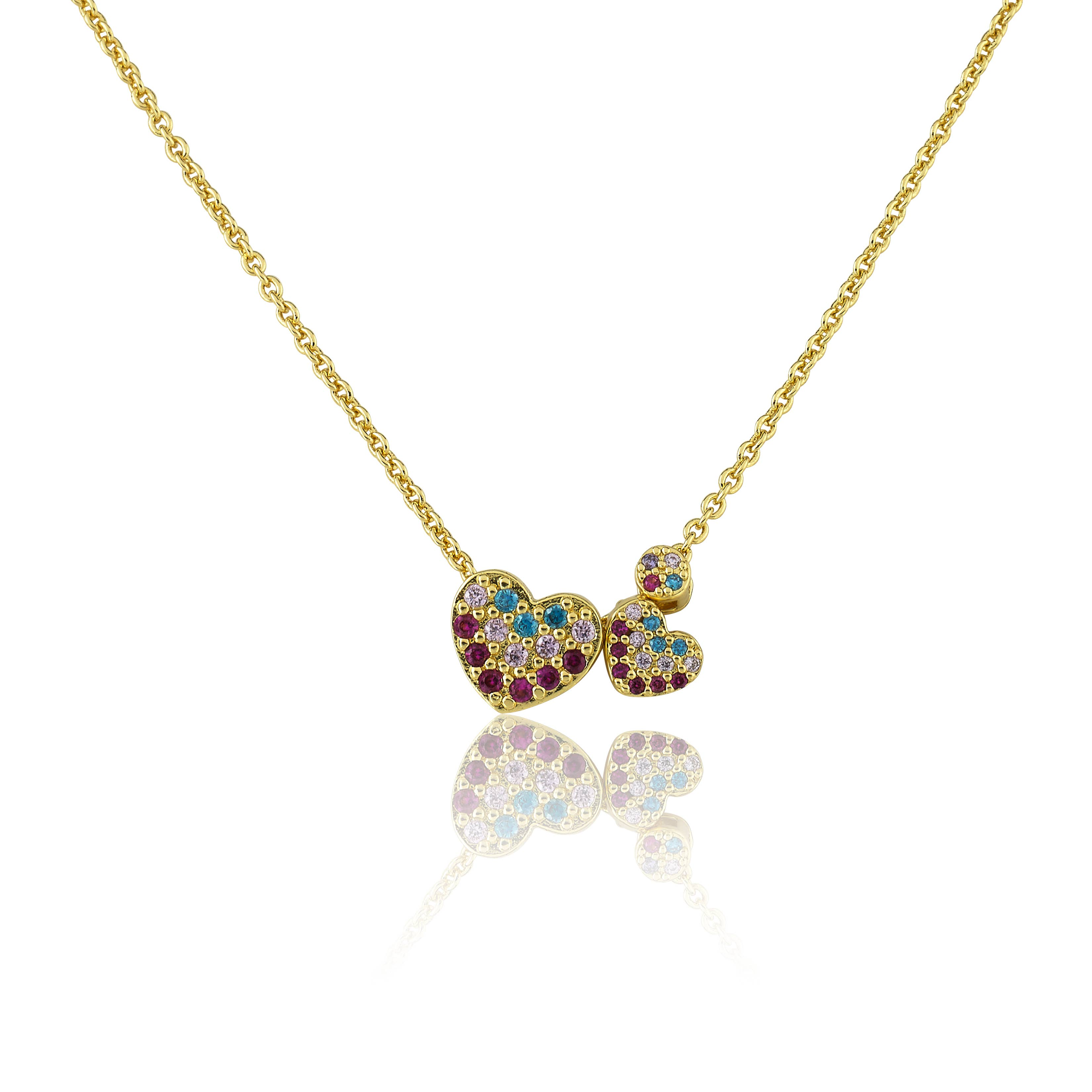 3 Little Miss Twin Stars Little Miss Flower Girl 14K Gold Plated Cz And Crystal Quilted Hearts Pearl Lariat Necklace// 14 2