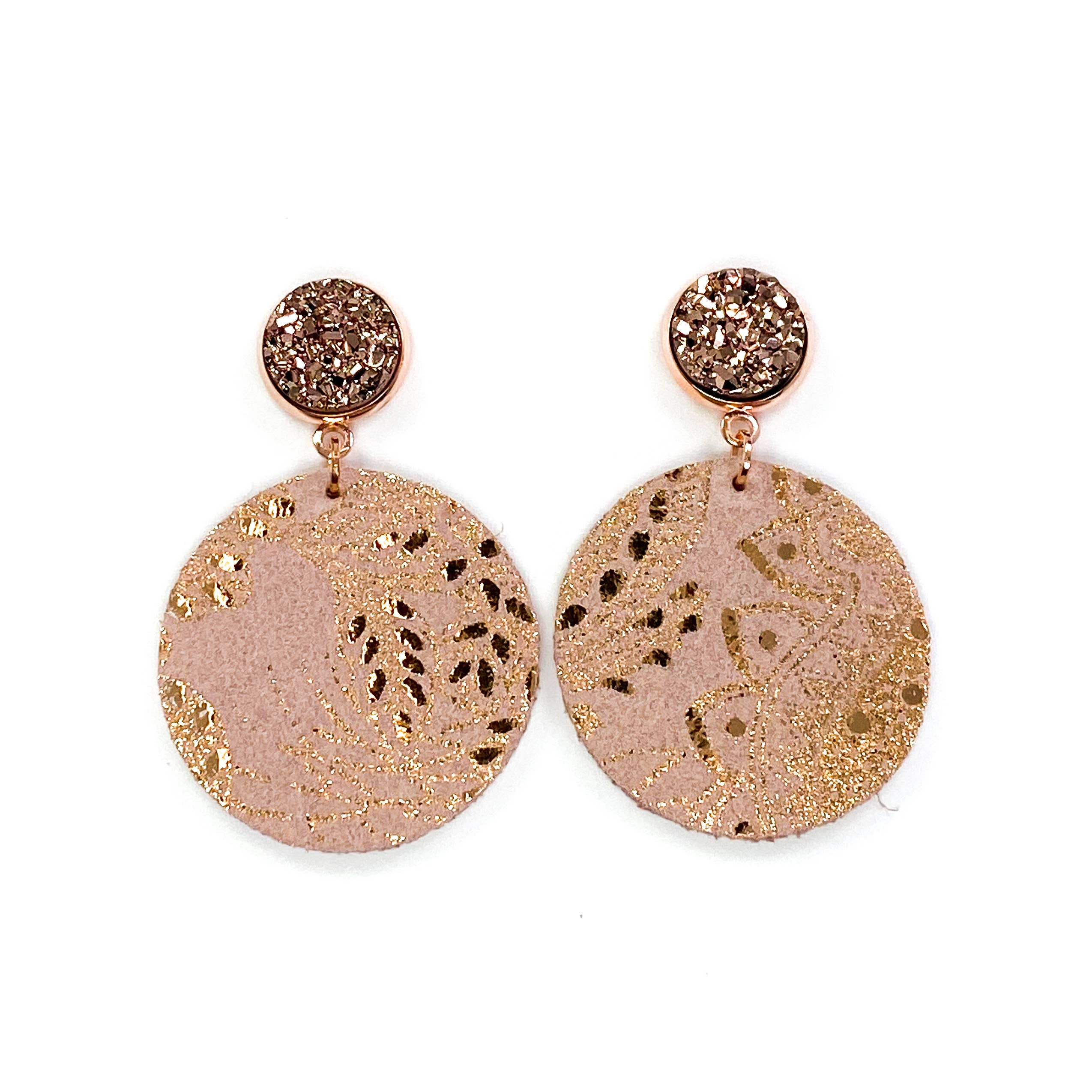 Naturist Fleather Earrings Pale Gold Dark Green and Copper