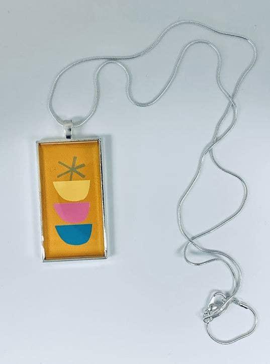 Hand Painted Pendant Handmade Wearable Art Jewelry Metallic Iridescent Multi Color 1x2