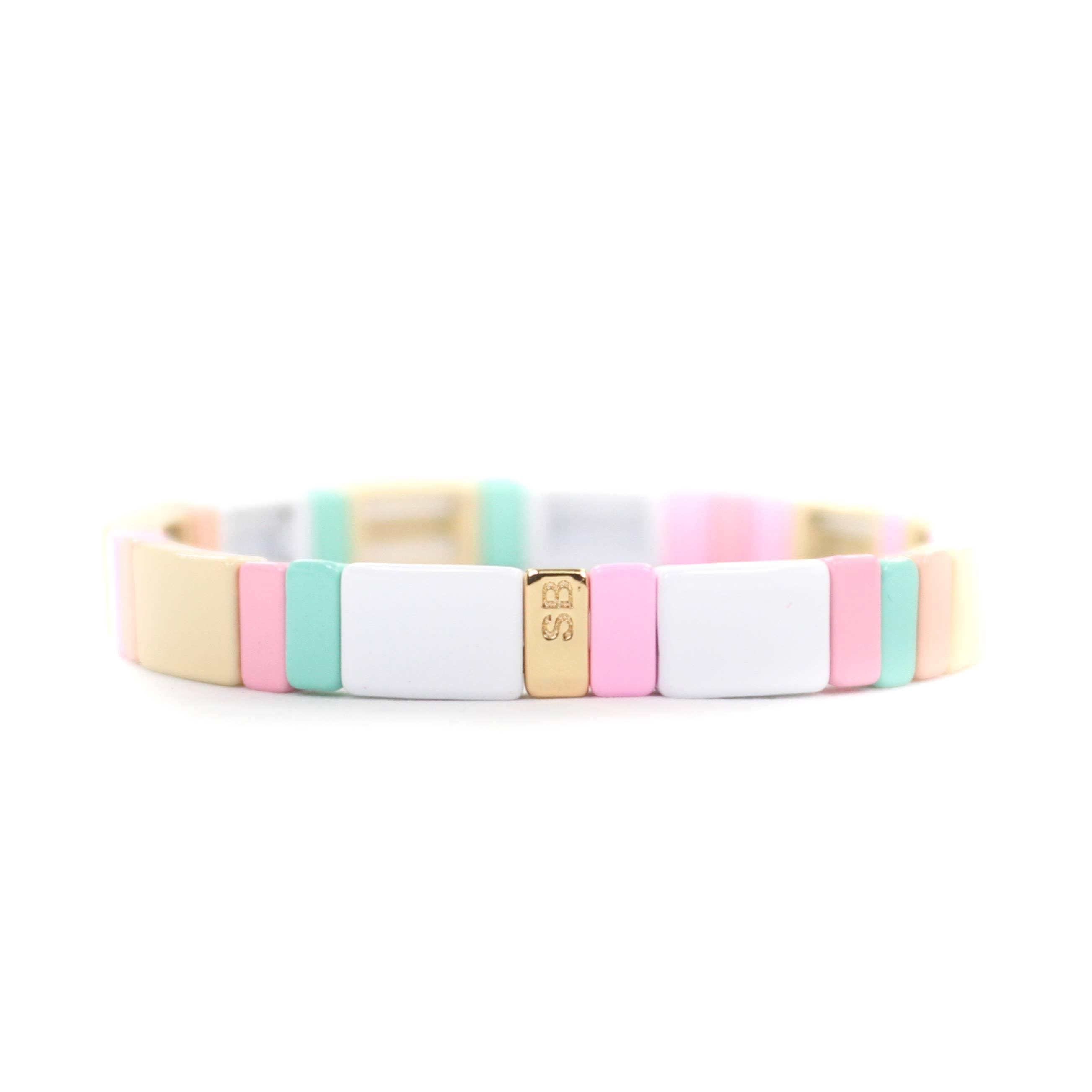 The Rectangle enamel bracelet in Pink