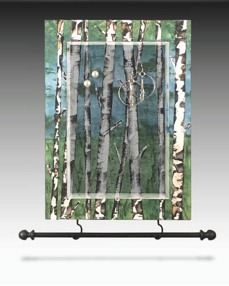 Stud Earring Holder Hanging Earring Organizer Hand Painted BIRCH TREES Design Wood Frame Necklace Holder