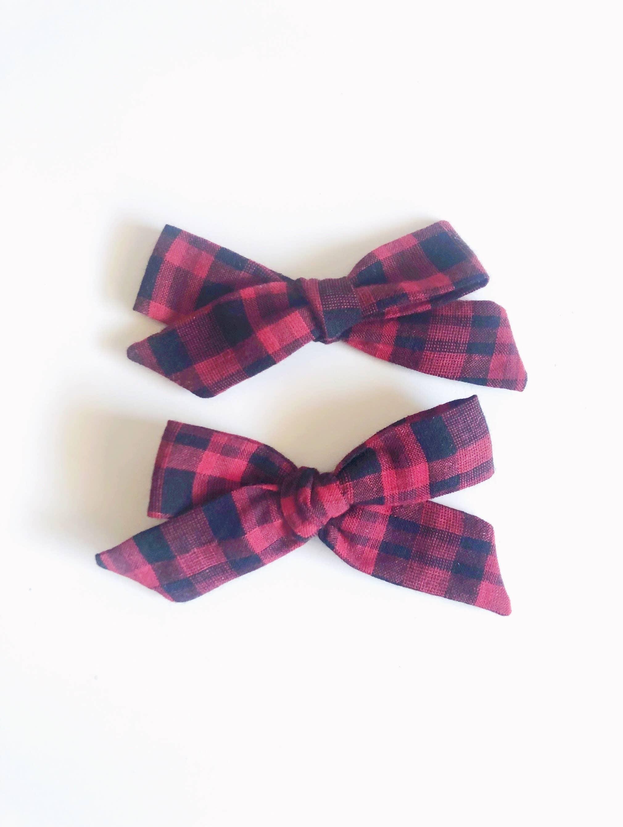 Plaid Pigtail Bows  Check Hair Bows Girls Hair Bows Pigtail Set Plaid Hair bows Schoolgirl Bows Pigtail Sets