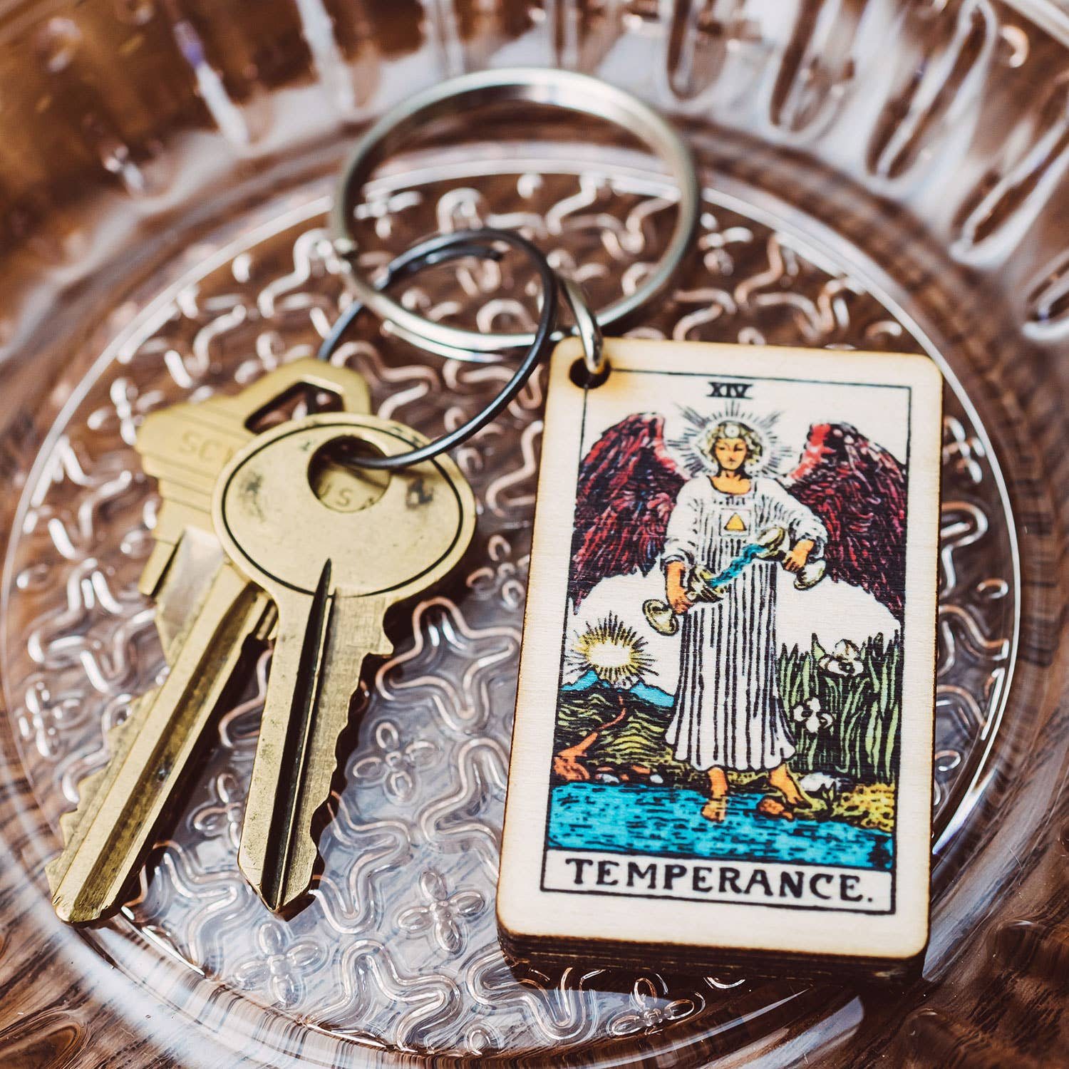 Strength Tarot Card Full Color Wooden Keychain