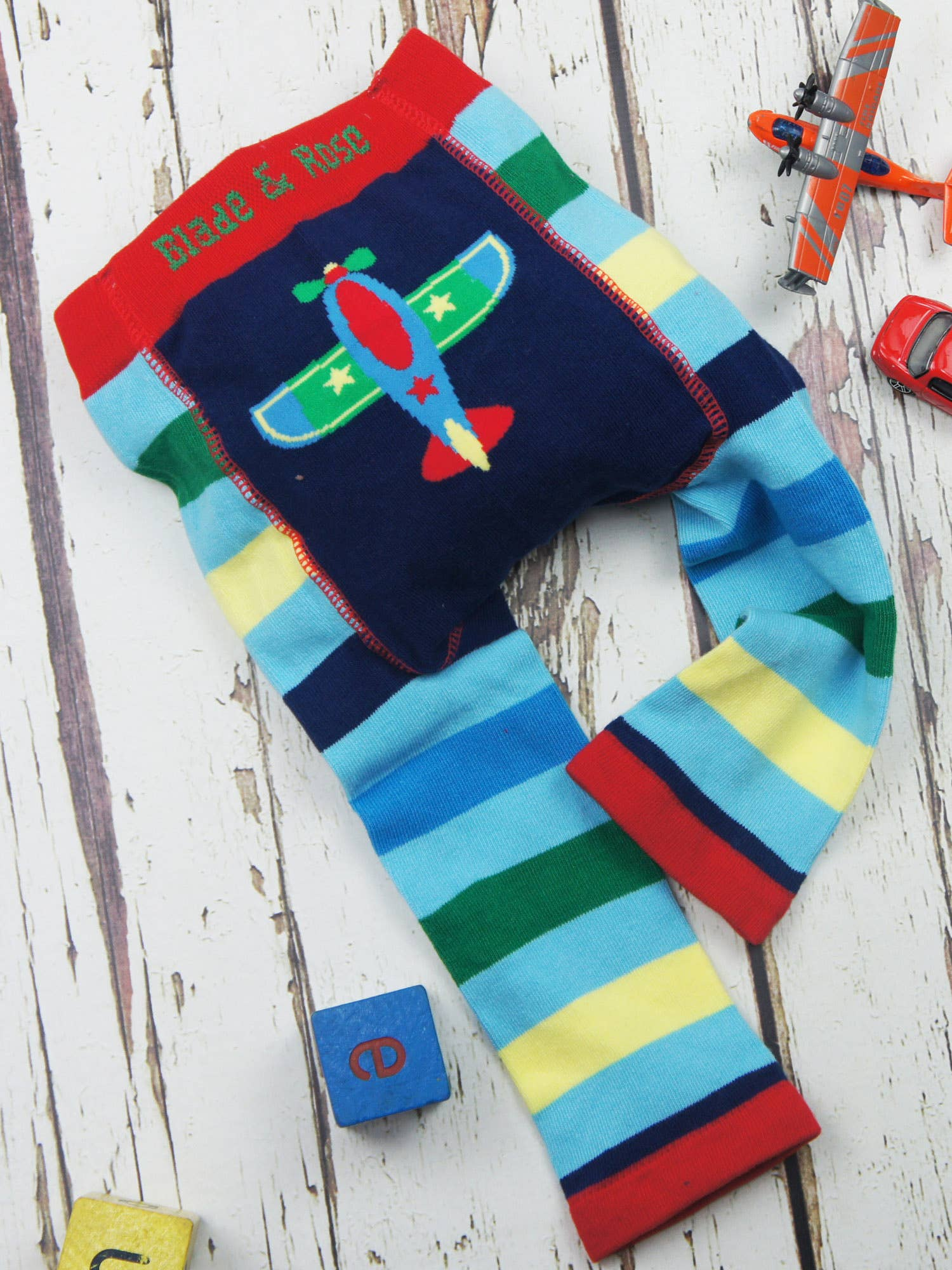 Matching Socks 2 Pack.multicoloured Blade and Rose Planes Leggings