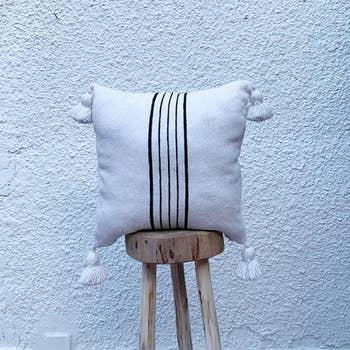 Cotton Moroccan Pillow With Black Tassels Pillow Cover Faire Com