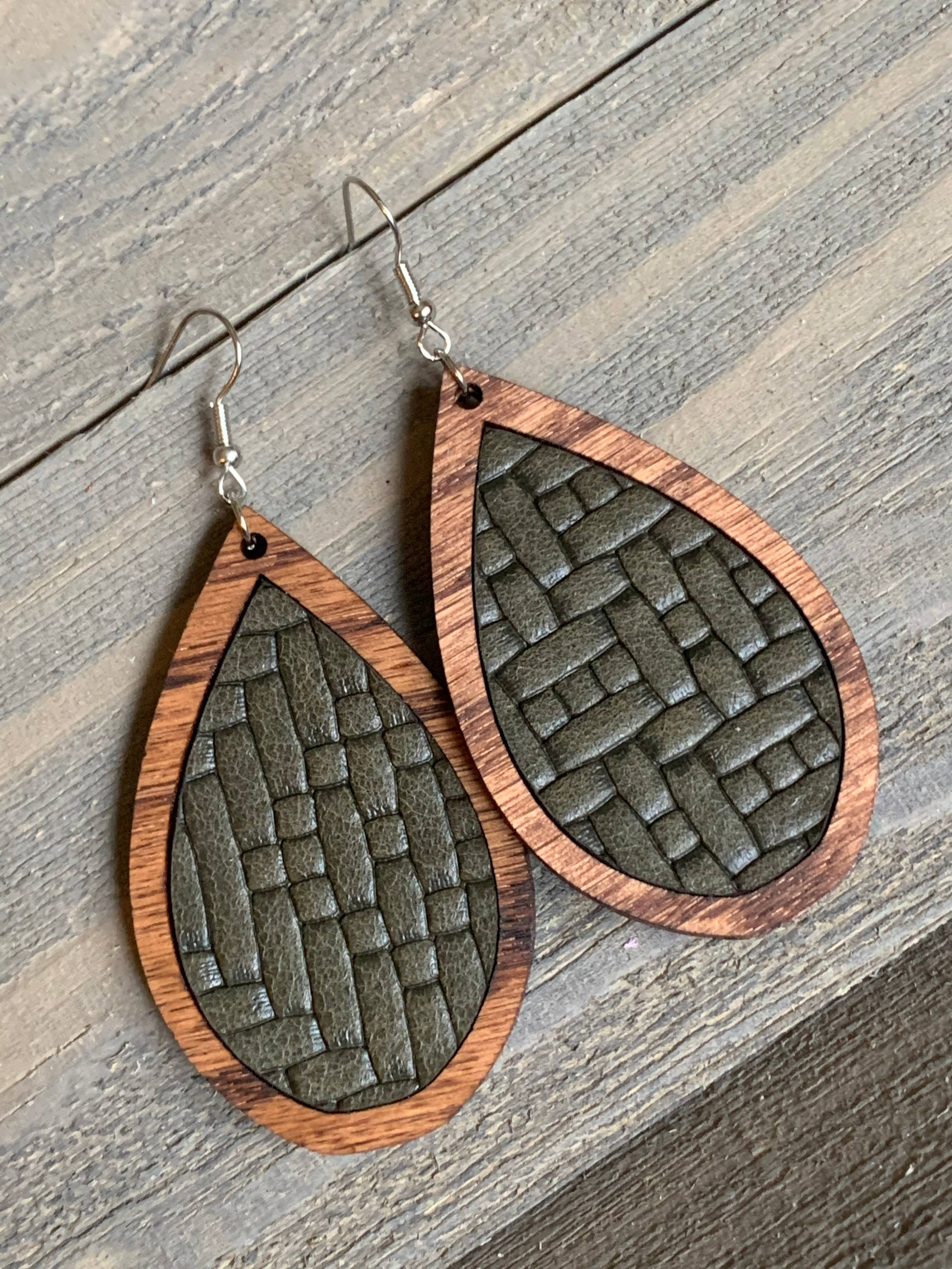 rust earrings cognac leather cuff bracelet triangle earrings teardrop leather earrings Cognac leather earrings brown leather sets
