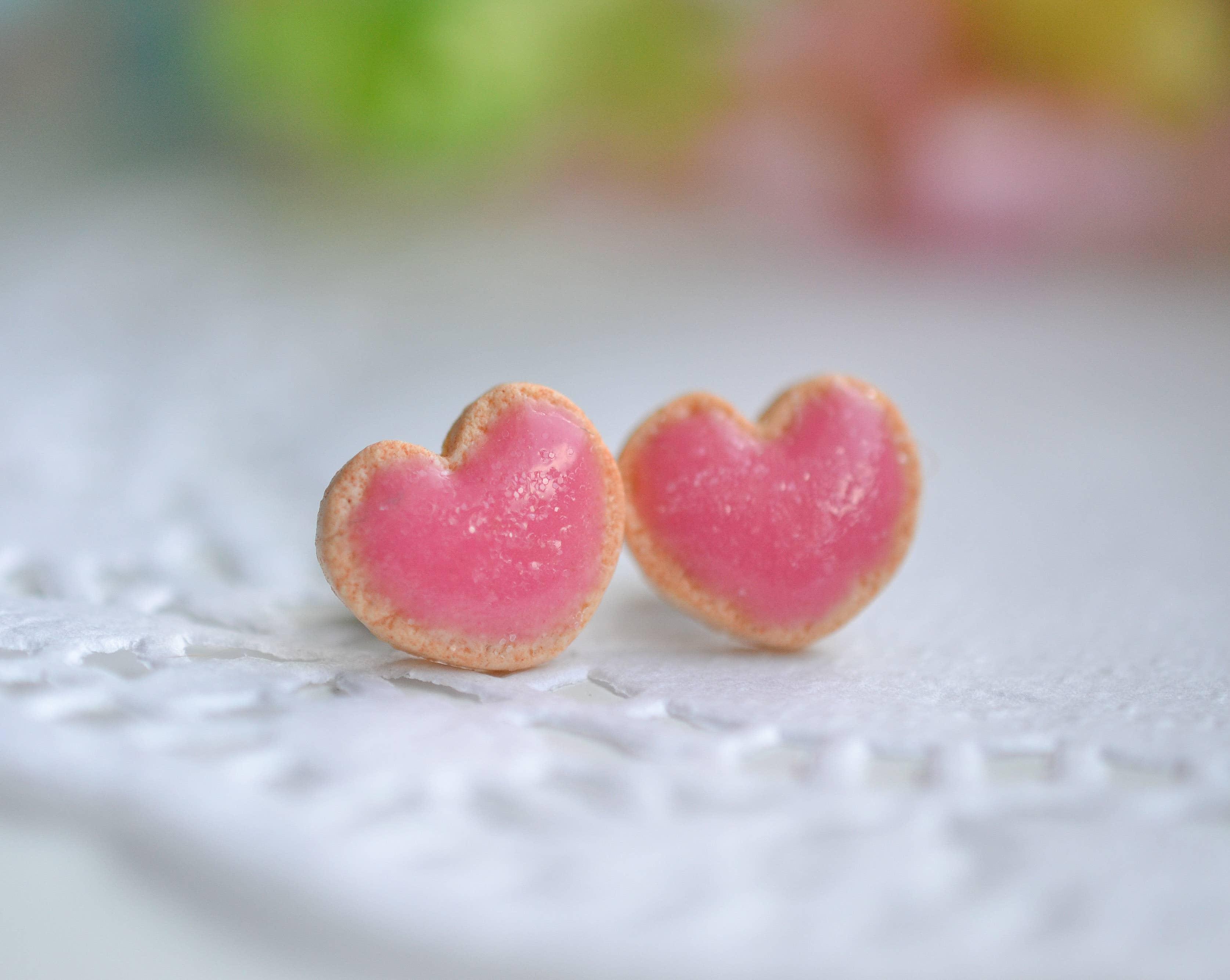 funfetti cookie heart shaped realistic polymer clay earrings