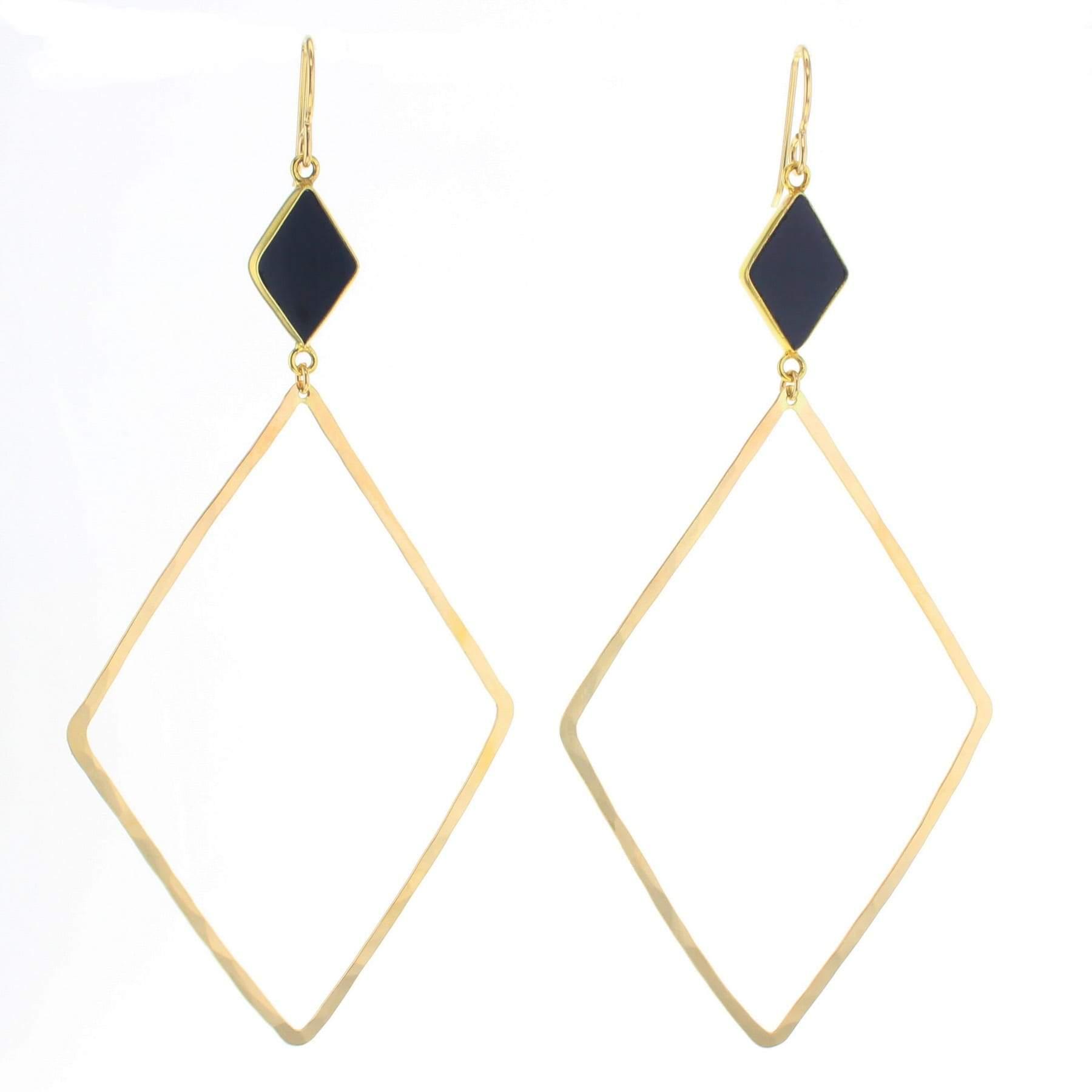 Grounding silver  triangle and tortoise   drop earrings Black and orange  drop earrings long fall earrings