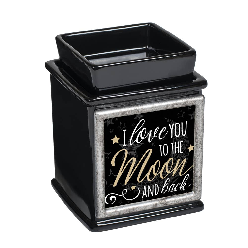 Cottage Garden Love You to The Moon and Back Night Sky Black and Gold Trim Tiny Square Keepsake Box