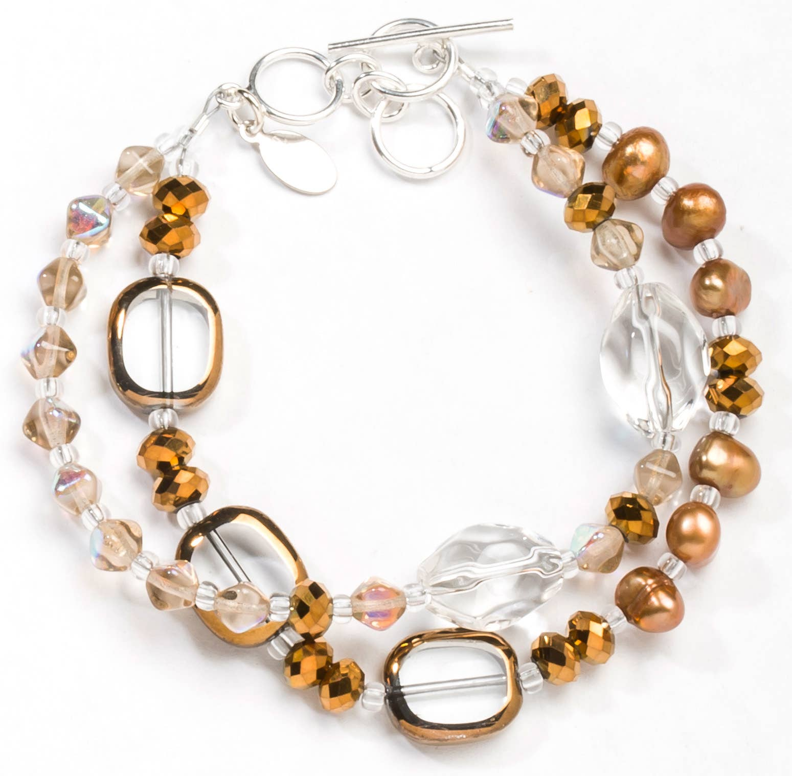 Earth Tones Purple Czech Glass /& Freshwater Pearl Beads ~ Sterling Silver Chain ~ Dangle Charm Bracelet ~ Adjustable ~ Blue