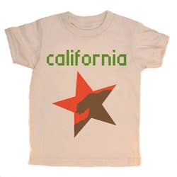 The deconstructed version of the California state flag as imagined by orangeheat, the pixelated font is a must for the gaming generation. 100% organic cotton. Natural. Soft and comfy tag less apparel. Designed in Venice California.
