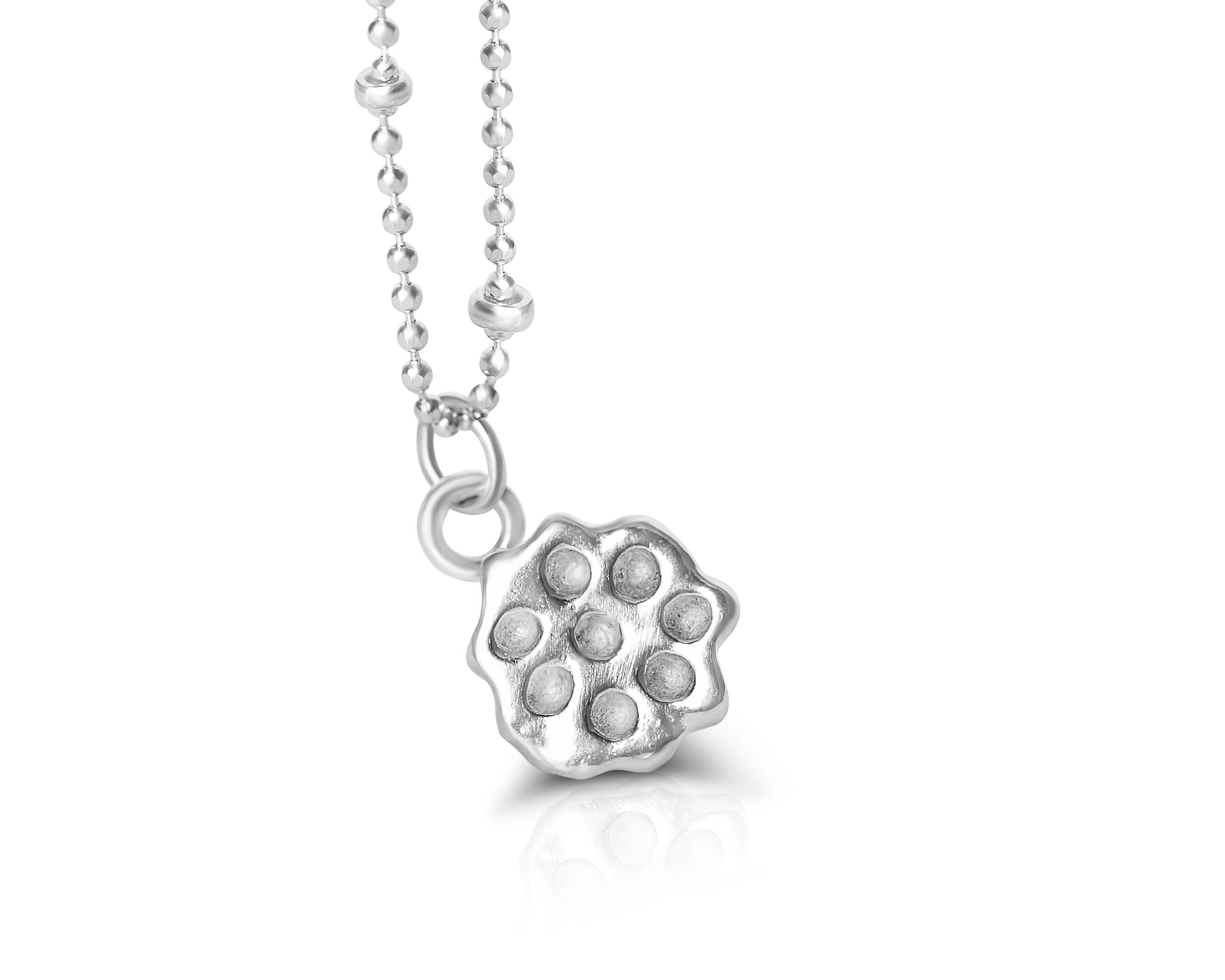 Sterling Silver Lotus Leaf Lotus Leaf Charm Necklace by Charming Little Lotus Botanical Lotus Flower Gifts Silver Lotus Jewelry