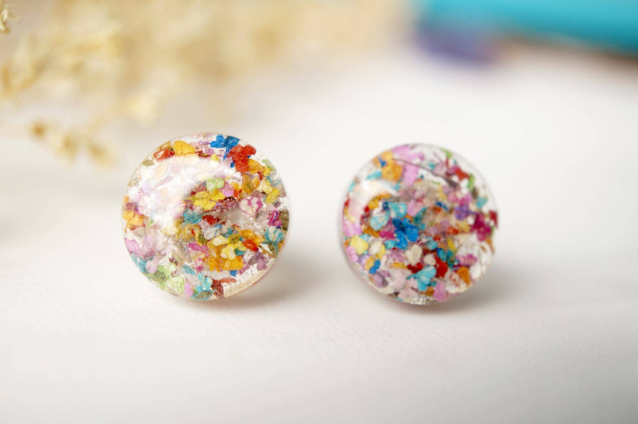 White and Pink Earrings Hammered Gold Post Earrings Pressed Flower Post Earrings With Howlite