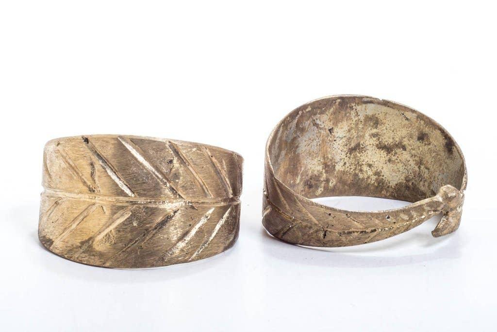 African handmade Lost wax Brass trade Peaceful mind Pendant-GHANA